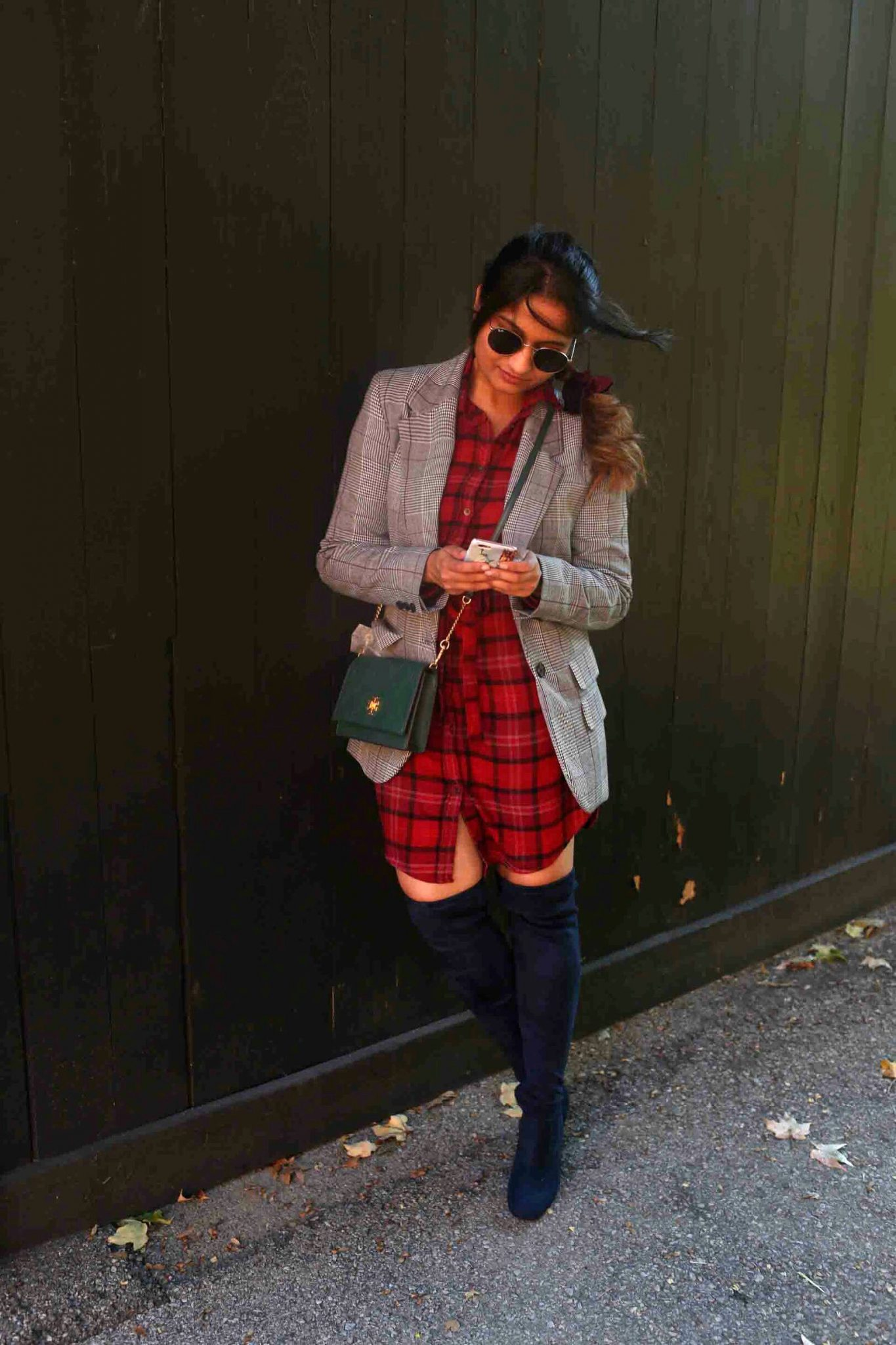 Lifestyle blog dreaming loud sharing how to wear plaid shirt dress with plaid blazer.jpg - 10 Ways to Wear a Plaid Blazer featured by popular Ohio modest fashion blogger, Dreaming Loud