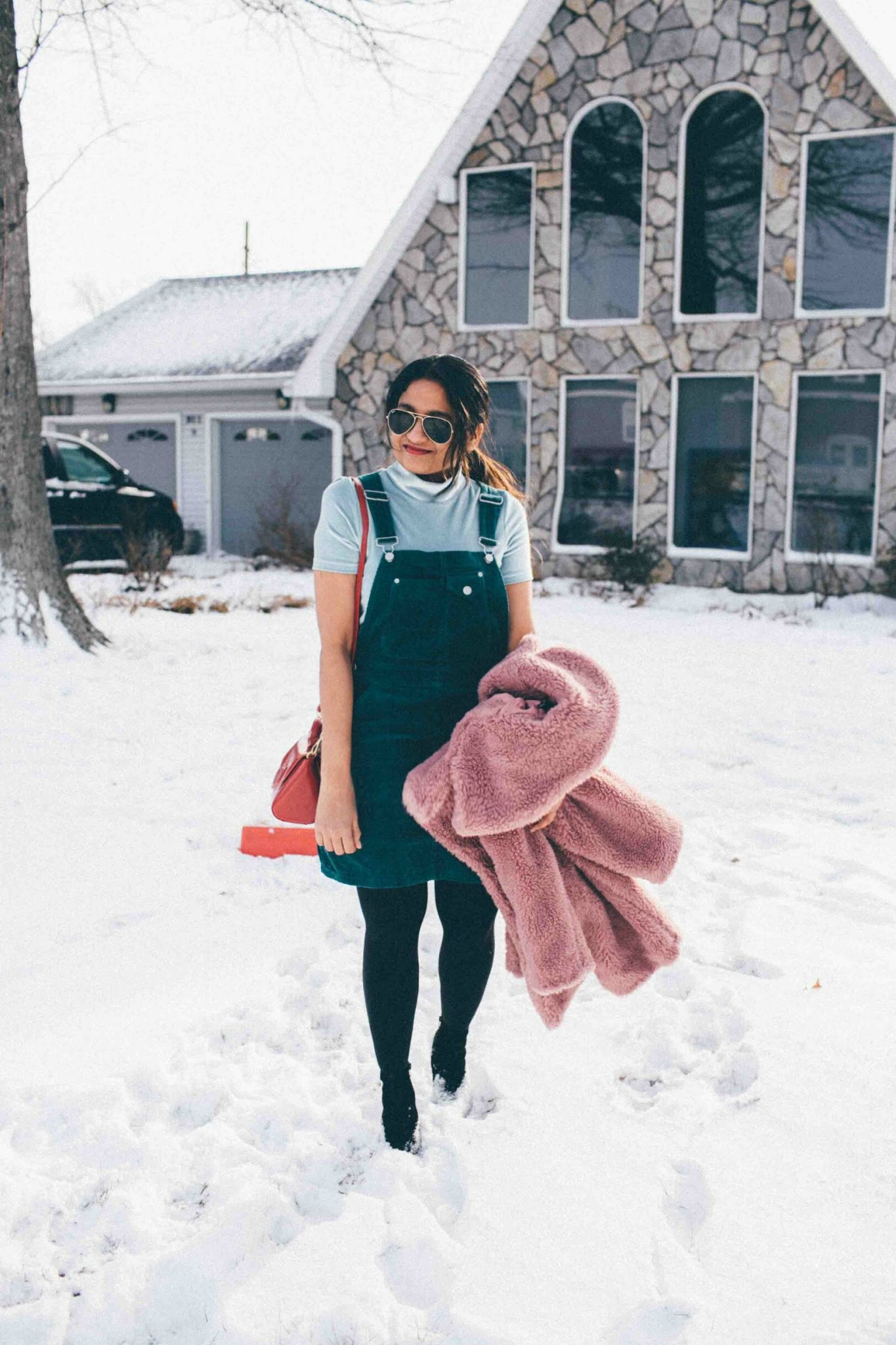 Lifestyle blog dreaming loud wearing asos suede overall dress in teal - Best of Presidents Day Sales featured by popular Ohio modest fashion blogger, Dreaming Loud