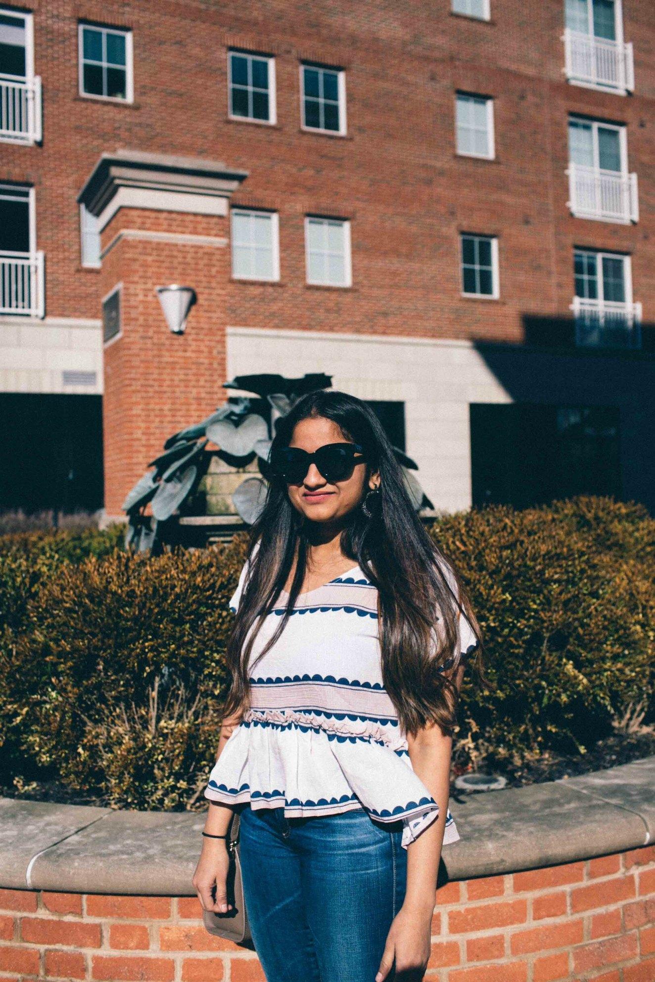 Lifestyle Blog Dreaming Loud wearing shien Contrast Print Pep Hem Blouse 2