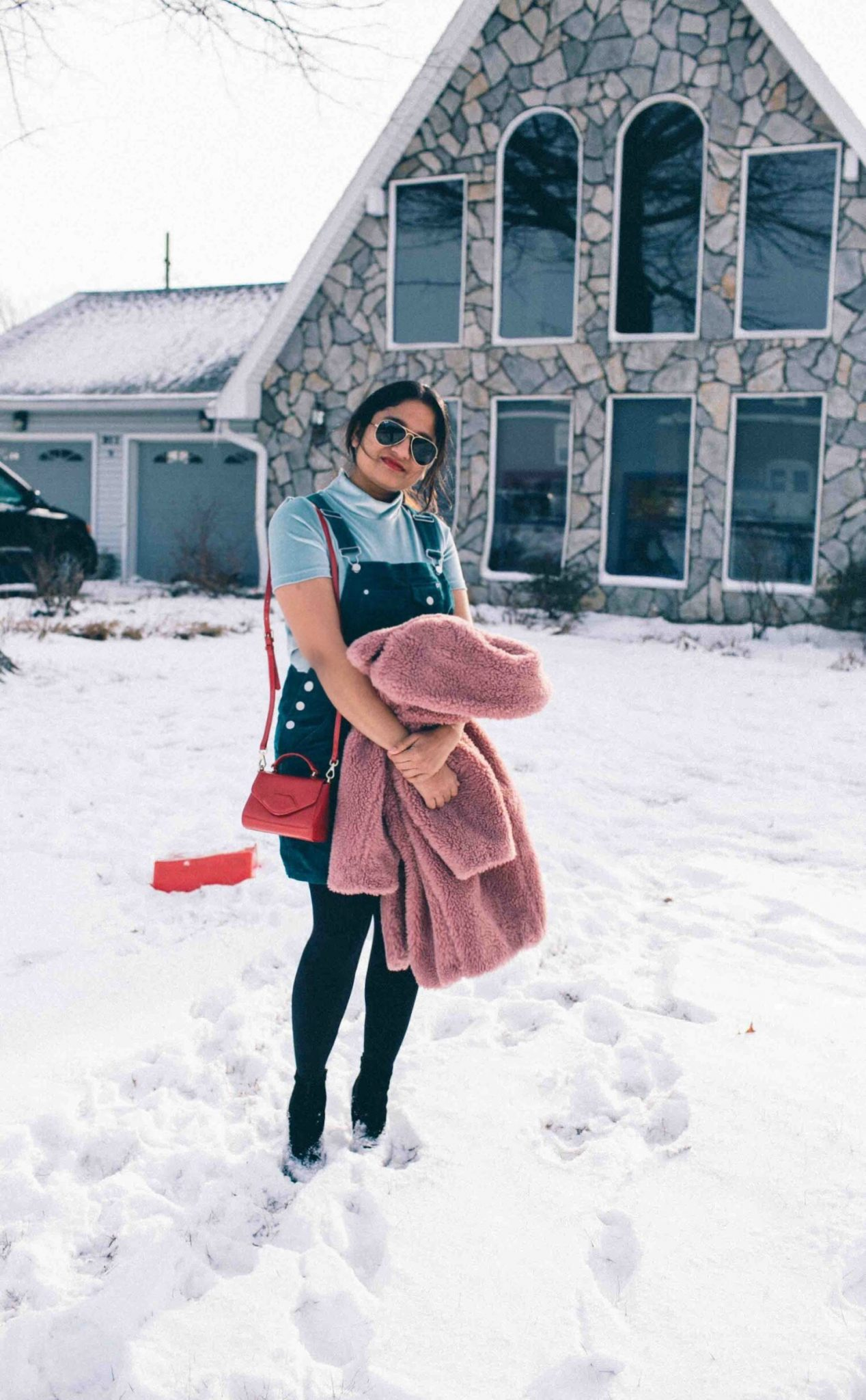 lifestyle blog dreaming loud wearing topshop faux fur teddy coat in blush or pink - Best of Presidents Day Sales featured by popular Ohio modest fashion blogger, Dreaming Loud