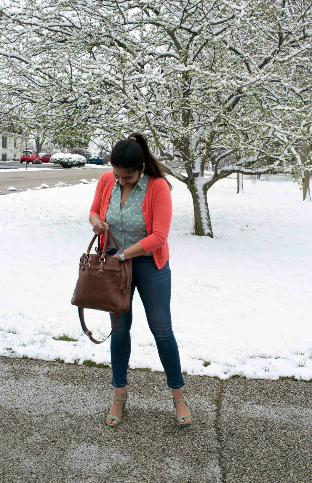 Fashion and Lifestyle Blog Dreaming Loud wearing Express Polka Dot Blouse with Lee skinny Jeans| Tanger Outlet Spring Work Outfits Haul featured by popular Ohio modest fashion blogger, Dreaming Loud