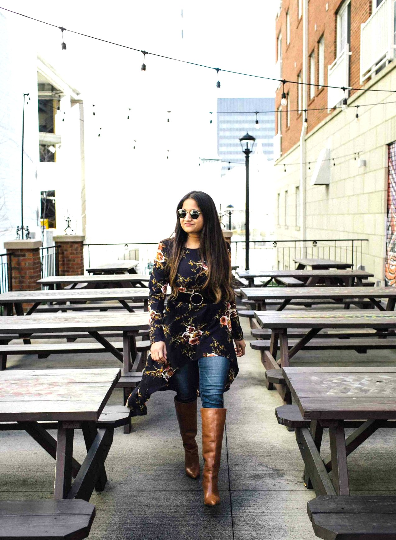 Lifestyle BLog Dreaming Loud wearing Shien Flower Print Dip Hem Longline Trapeze Tunic Top1 | SheIn High Low Tunic Top styled by popular Ohio modest fashion blogger, Dreaming Loud