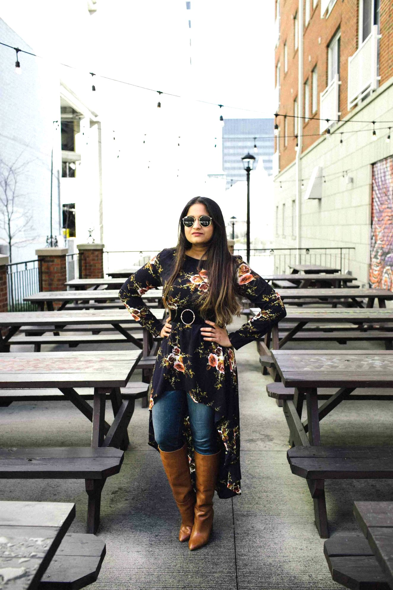 Lifestyle BLog Dreaming Loud wearing Shien Flower Print Dip Hem Longline Trapeze hi-low Top with Ag skinny jeans1 | SheIn High Low Tunic Top styled by popular Ohio modest fashion blogger, Dreaming Loud