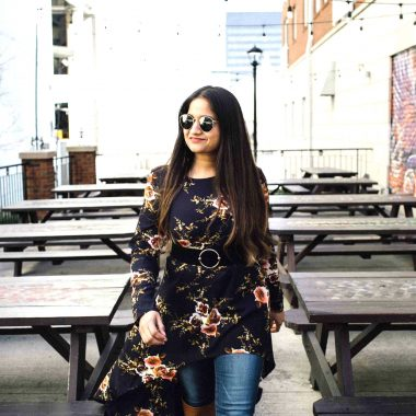 Lifestyle BLog Dreaming Loud wearing Shien Flower Print Dip Hem Longline Trapeze hi low tunic top 3-1 | SheIn High Low Tunic Top styled by popular Ohio modest fashion blogger, Dreaming Loud