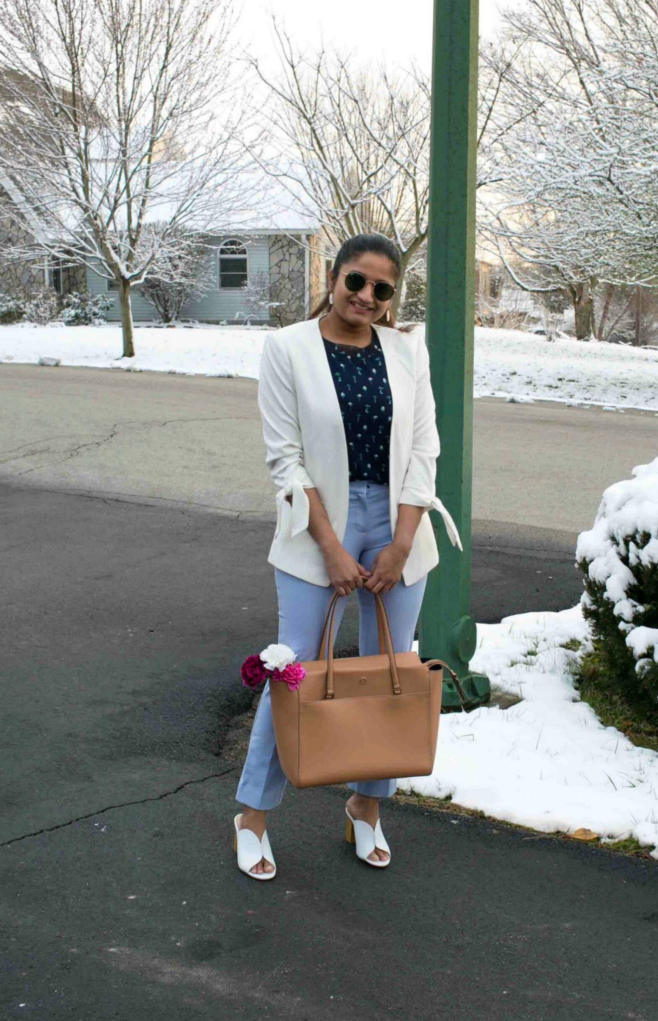 Lifestyle Blog Dreaming Loud Sharing how to wear Ann Taylor lilac pants to work  Tanger Outlet Spring Work Outfits Haul featured by popular Ohio modest fashion blogger, Dreaming Loud