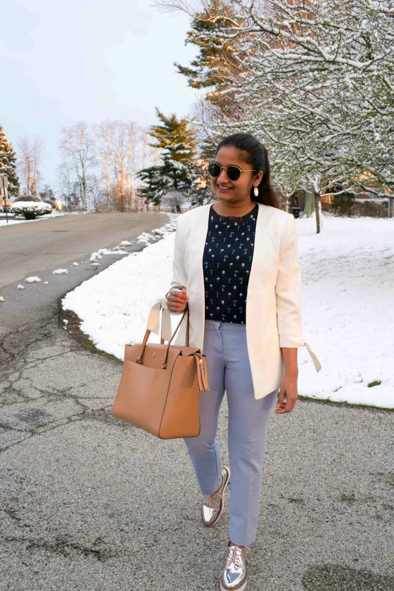 Lifestyle Blog Dreaming Loud Sharing how to wear Lilac work pants with sneakers| Tanger Outlet Spring Work Outfits Haul featured by popular Ohio modest fashion blogger, Dreaming Loud