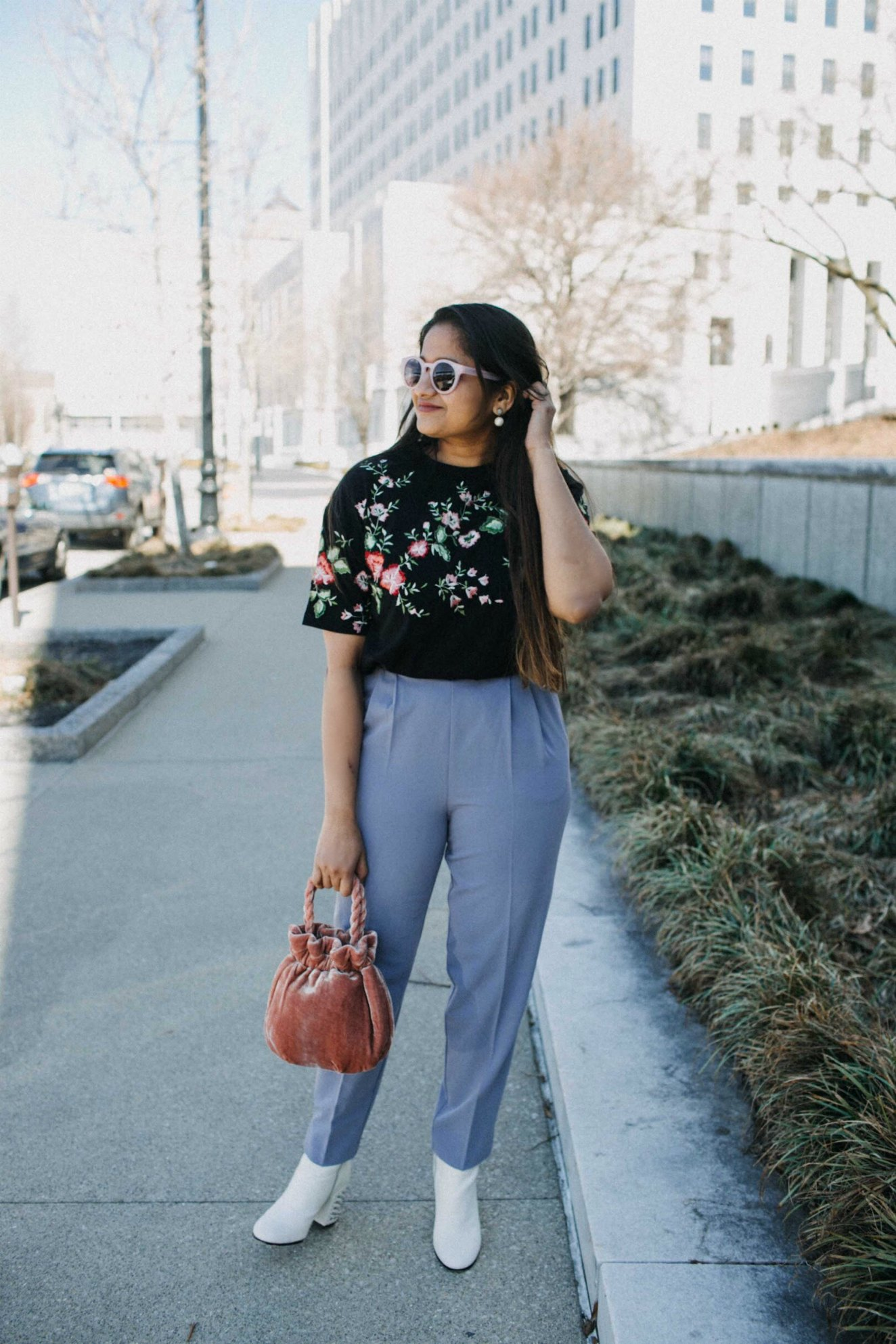 Lifestyle Blog Dreaming Loud wearing Staud Grace velvet clutch bag - Spring Outfit Ideas featured by popular Ohio modest fashion blogger, Dreaming Loud