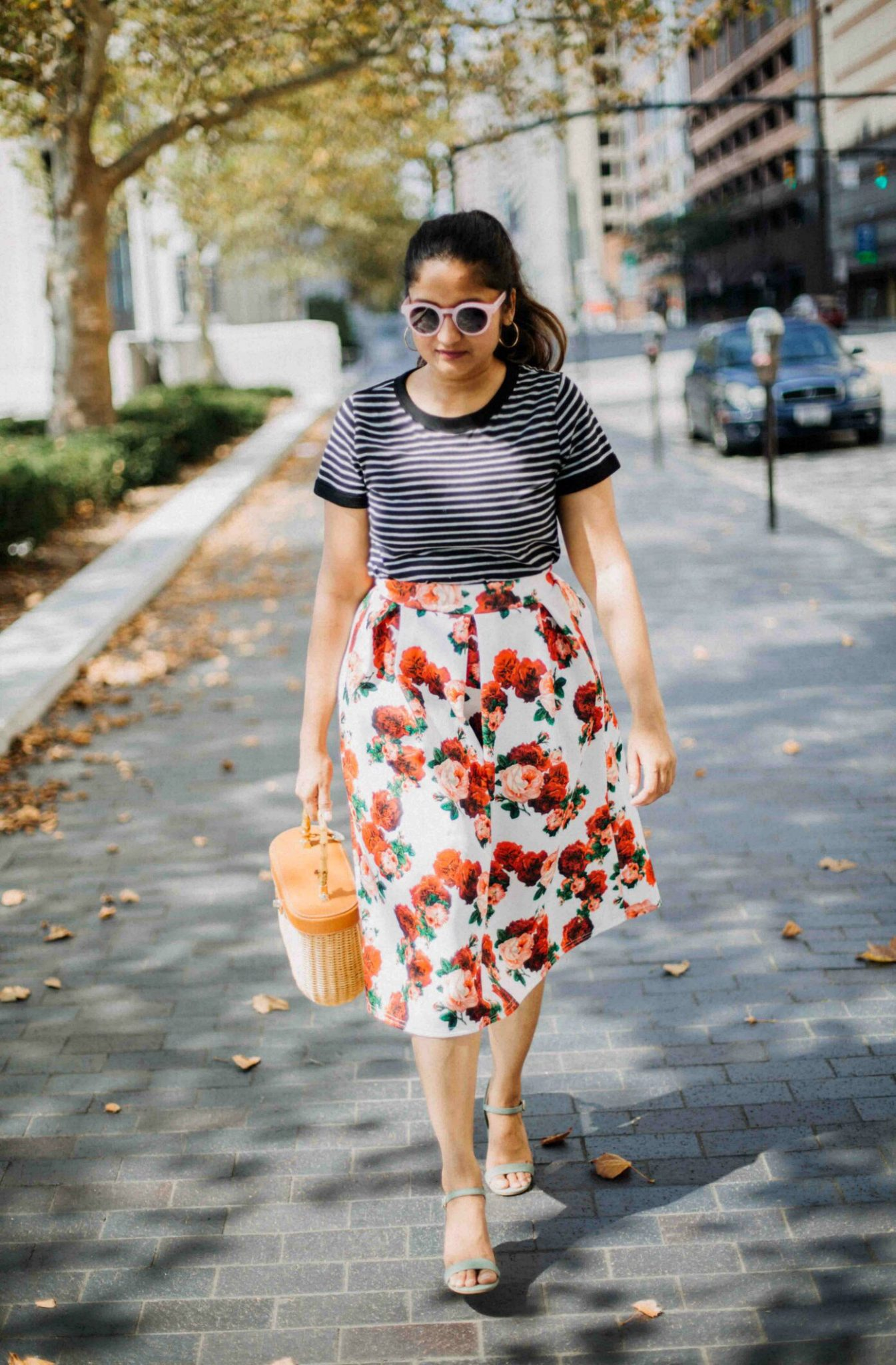 Lifestyle Blog Dreaming Loud sharing chic ways to wear floral for Spring with stripes - Spring Outfit Ideas featured by popular Ohio modest fashion blogger, Dreaming Loud