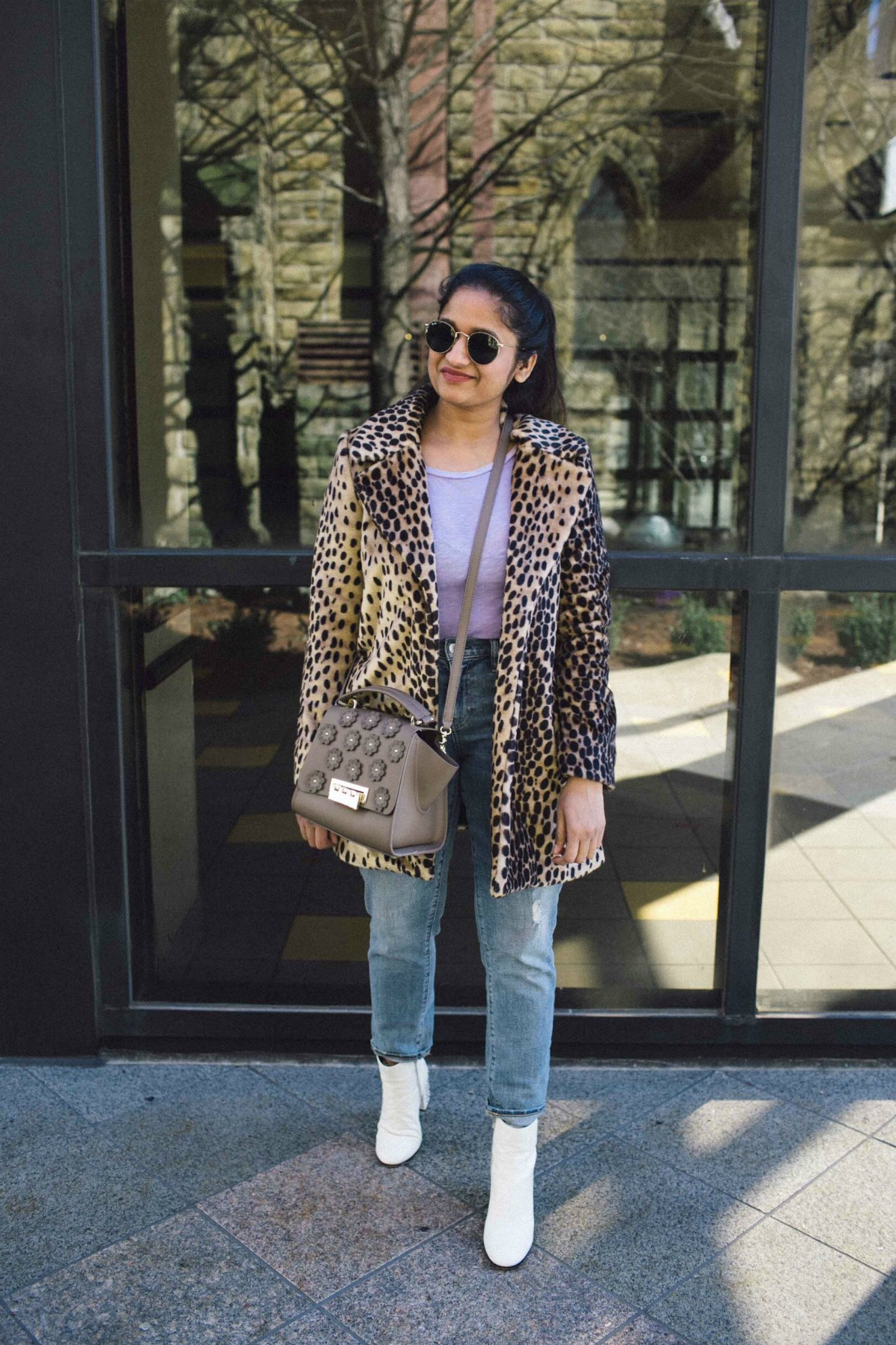 Lifestyle Blog Dreaming Loud sharing how to wear leopard coat in casual ways with pastel colors | The Leopard Print Trend featured by popular US modest fashion blogger, Dreaming Loud