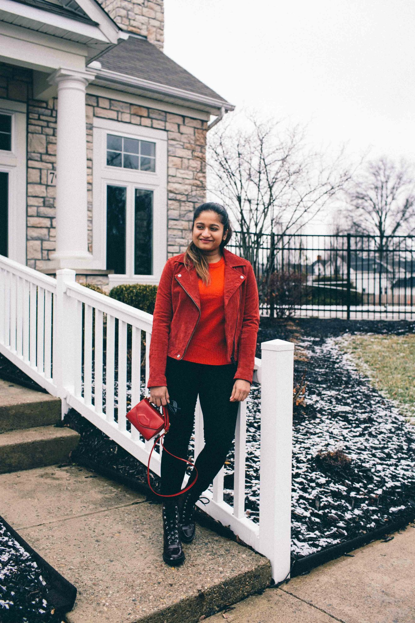 Lifestyle Blog Dreaming Loud wearing Blank nbc red suede Moto jacket - Spring Outfit Ideas featured by popular Ohio modest fashion blogger, Dreaming Loud