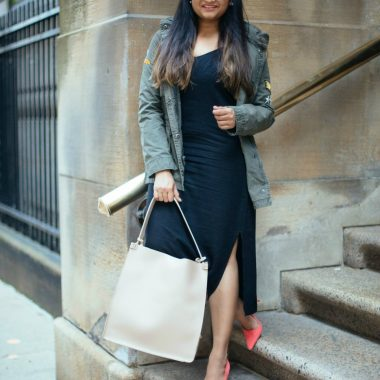Lifestyle Blog Dreaming Loud wearing Splendid Black slip dress with Levis utility jacket