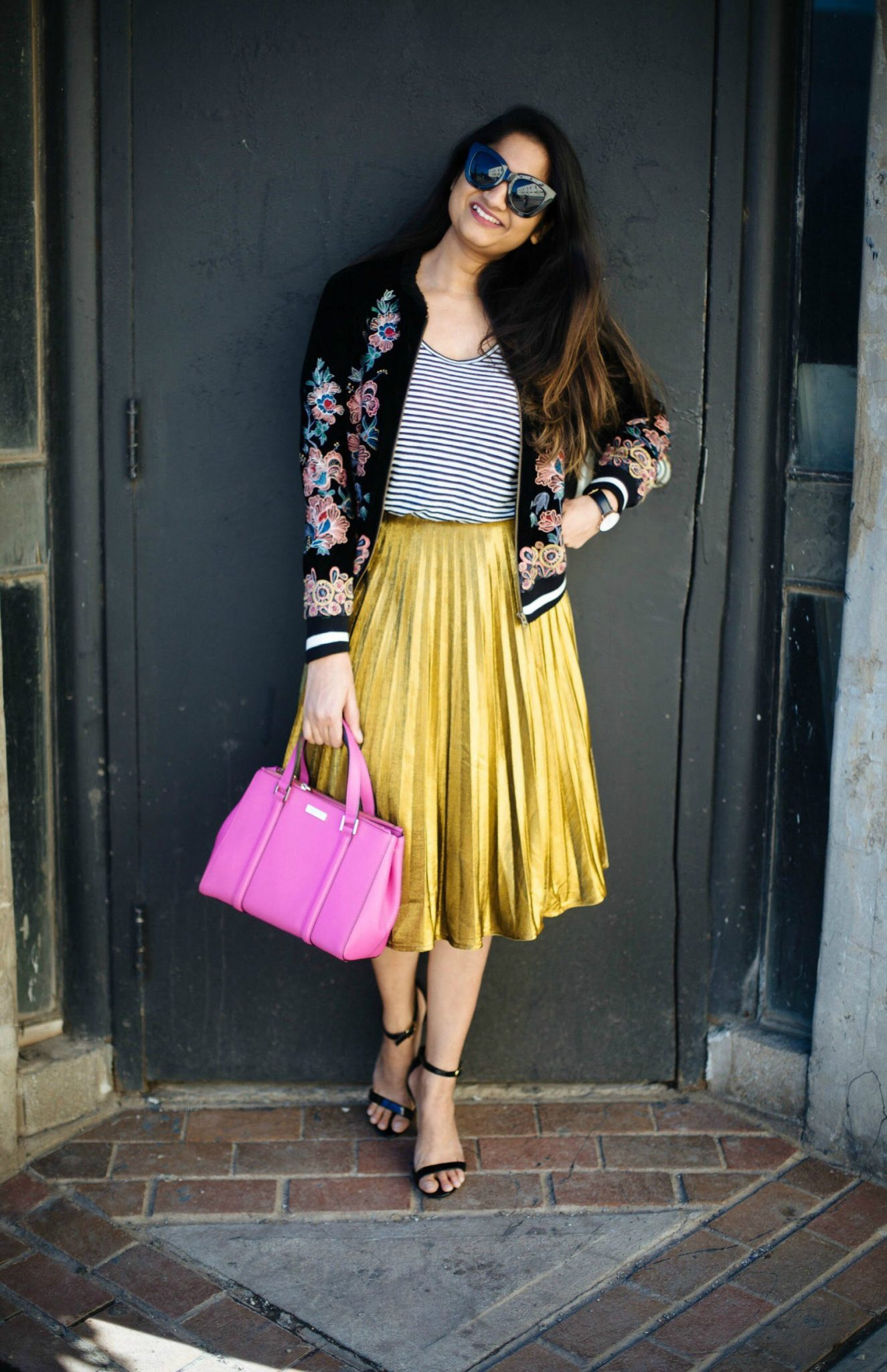 Lifestyle Blog Dreaming loud sharing how to wear metallic skirt casually with embroidery floral bomber jacket - Spring Outfit Ideas featured by popular Ohio modest fashion blogger, Dreaming Loud