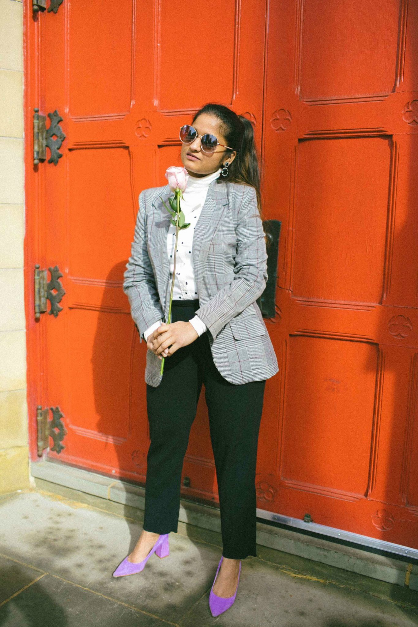 Lifestyle Blog Dreaming loud wearing Polka dot shirt with Plaid blazer - Spring Outfit Ideas featured by popular Ohio modest fashion blogger, Dreaming Loud