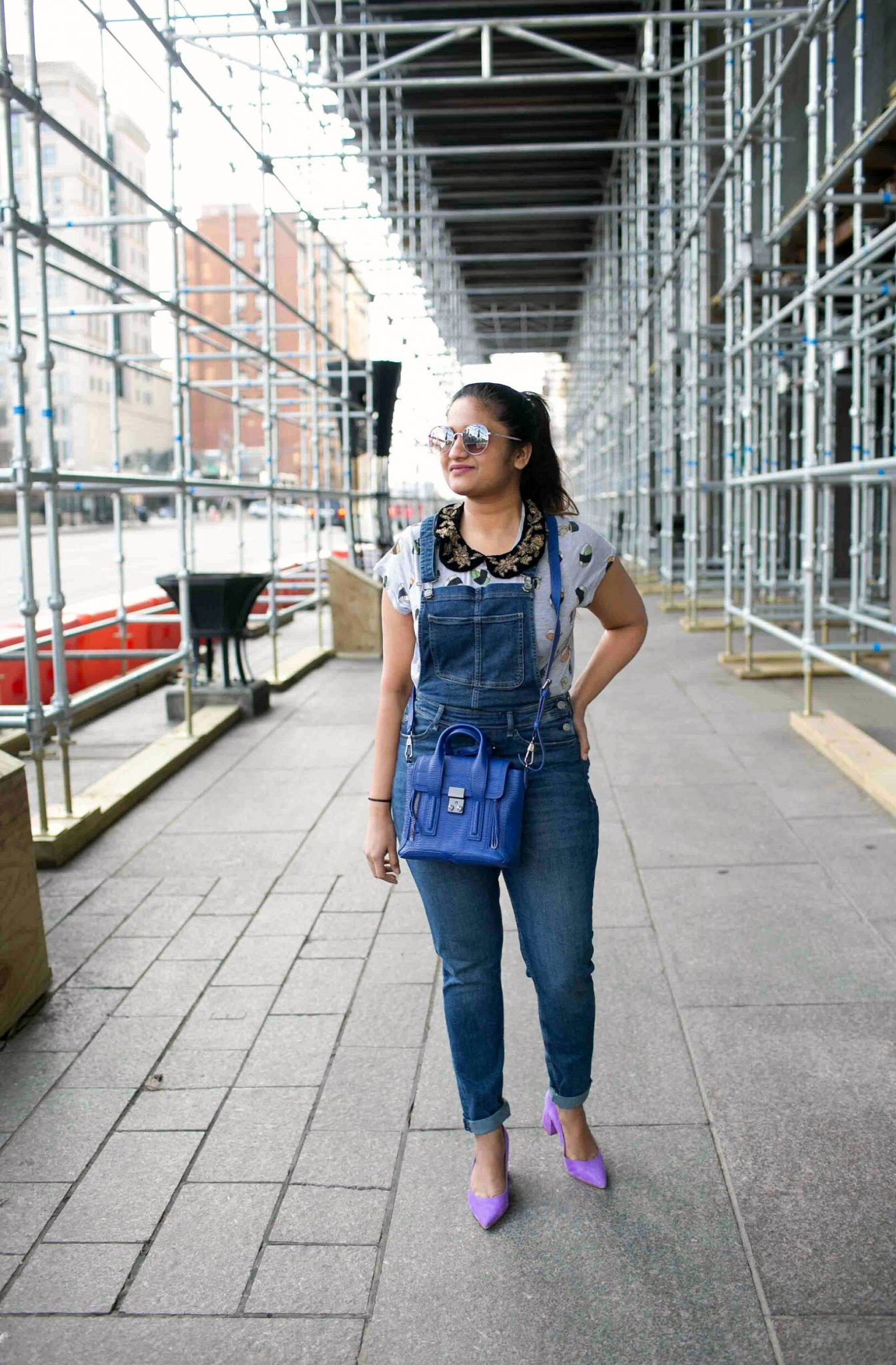 Lifestyle Blogger suri of dreaming loud sharing how to add quirky details to your outfits | H&M Overalls outfit featured by popular Ohio modest fashion blogger, Dreaming Loud