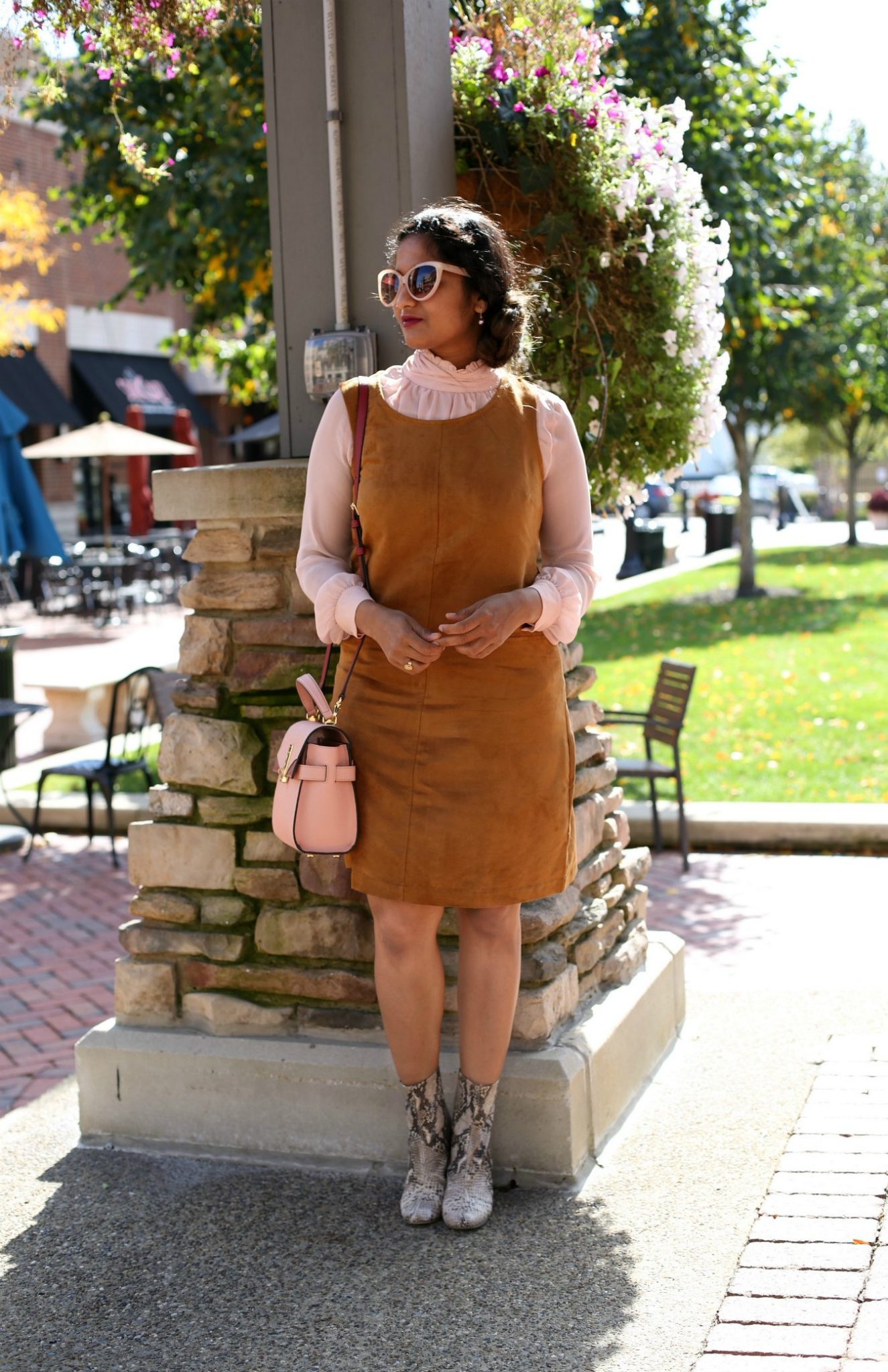 Lifestyle blog dreaming loud sharing chic spring outfit ideas 2018 wearing suede overall dress - Spring Outfit Ideas featured by popular Ohio modest fashion blogger, Dreaming Loud