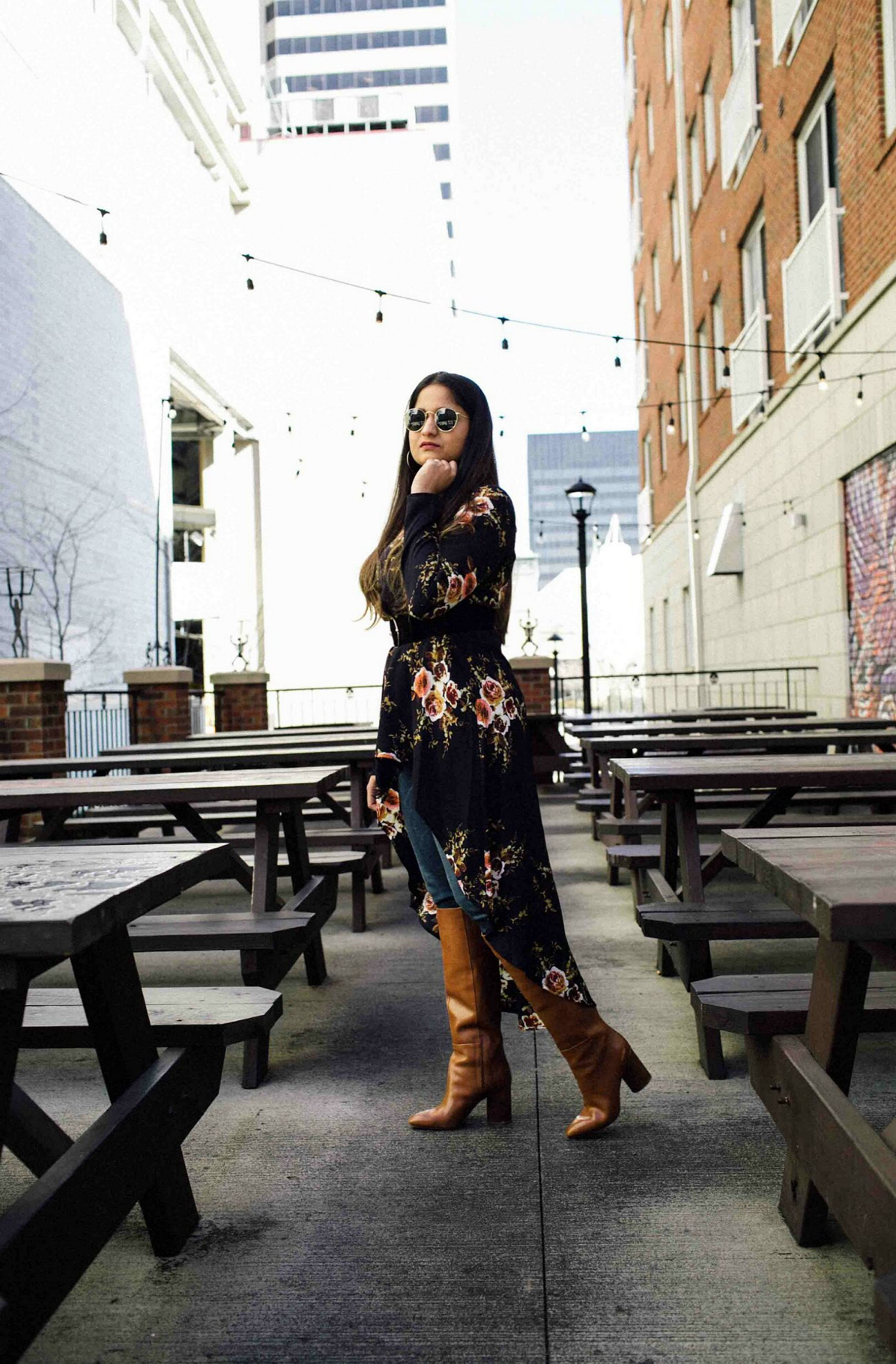 Lifestyle blog dreaming loud wearing Nine West Christie boots | SheIn High Low Tunic Top styled by popular Ohio modest fashion blogger, Dreaming Loud