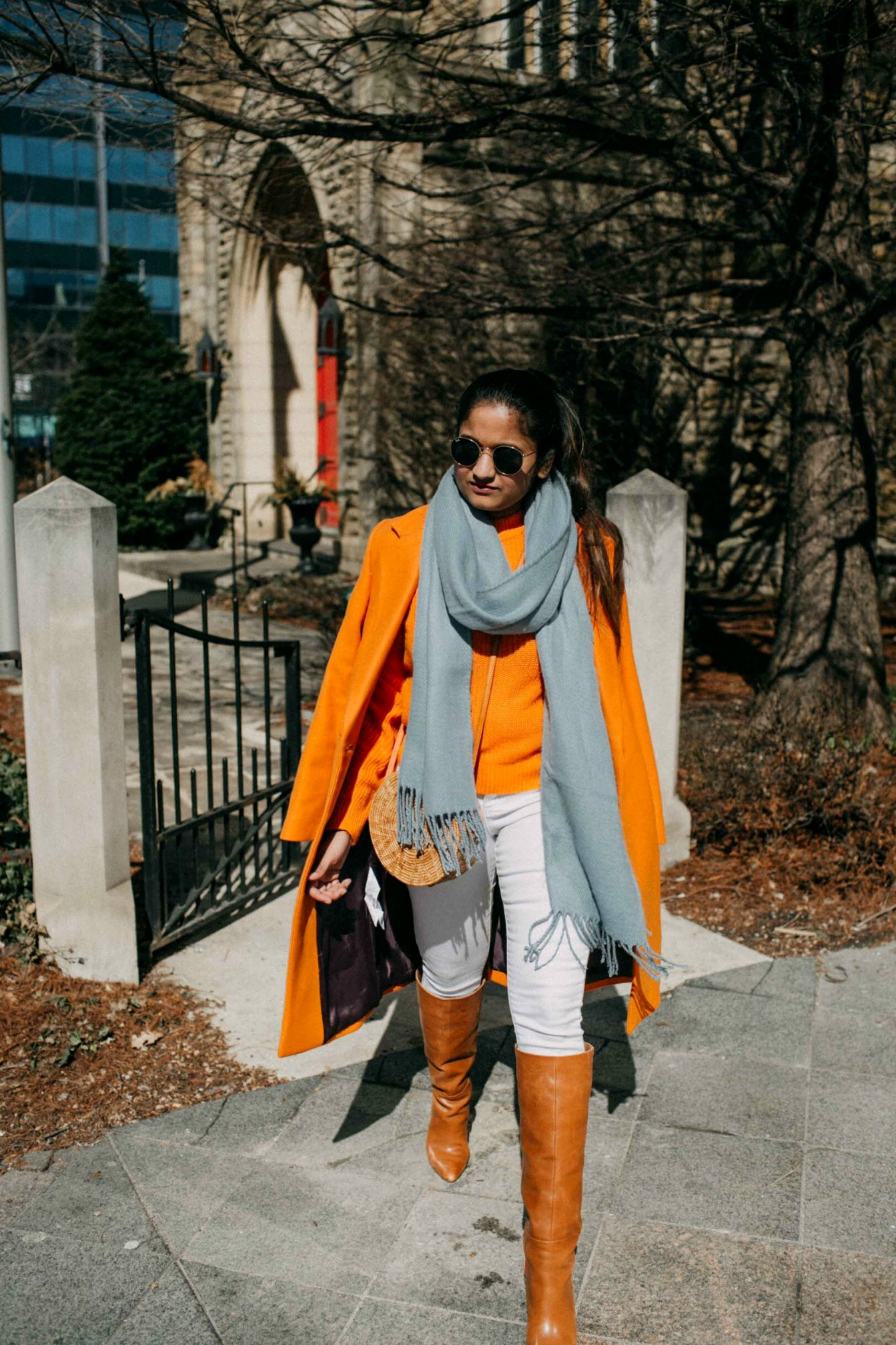 Lifestyle blogger Suri of dreaming loud sharing Orange and light blue combo outfit| Blue and Orange outfit inspiration featured by popular Ohio modest fashion blogger, Dreaming Loud