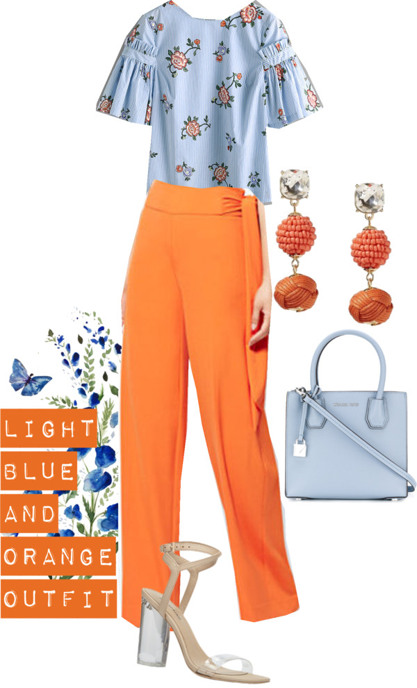 Lifestyle blogger Suri of dreaming loud sharing Orange and light blue combo spring outfits 1| Blue and Orange outfit inspiration featured by popular Ohio modest fashion blogger, Dreaming Loud