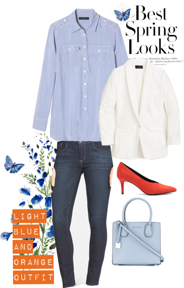 Lifestyle blogger Suri of dreaming loud sharing Orange and light blue combo spring outfits 2 | Blue and Orange outfit inspiration featured by popular Ohio modest fashion blogger, Dreaming Loud
