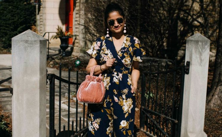 Lifestyle blogger Suri of dreaming loud wearing target Xhilaration Floral Printed Short Sleeve Jumpsuit sharing spring chic outfit ideas