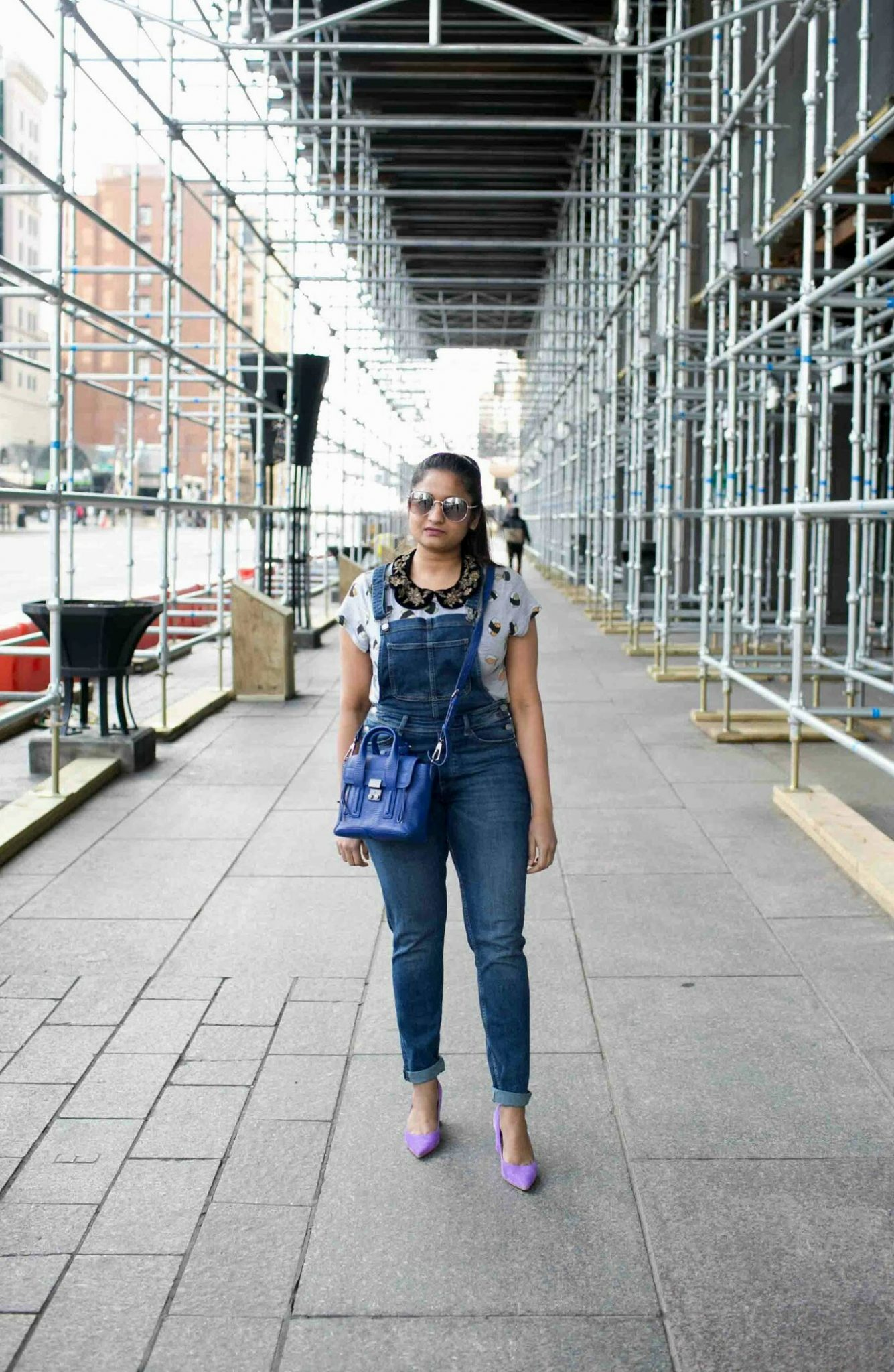 Lifestyle blogger suri of dreaming loud sharing how to look colorful and quirky everyday | H&M Overalls outfit featured by popular Ohio modest fashion blogger, Dreaming Loud
