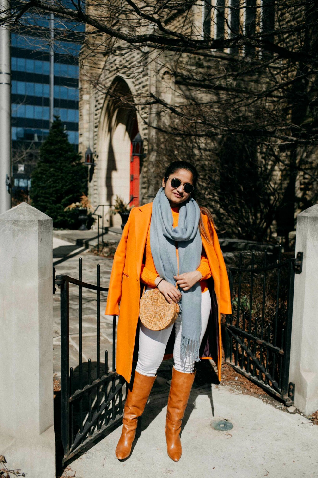 lifestyle blogger Suri of dreaming loud wearing Mango Orange wool coat | Blue and Orange outfit inspiration featured by popular Ohio modest fashion blogger, Dreaming Loud