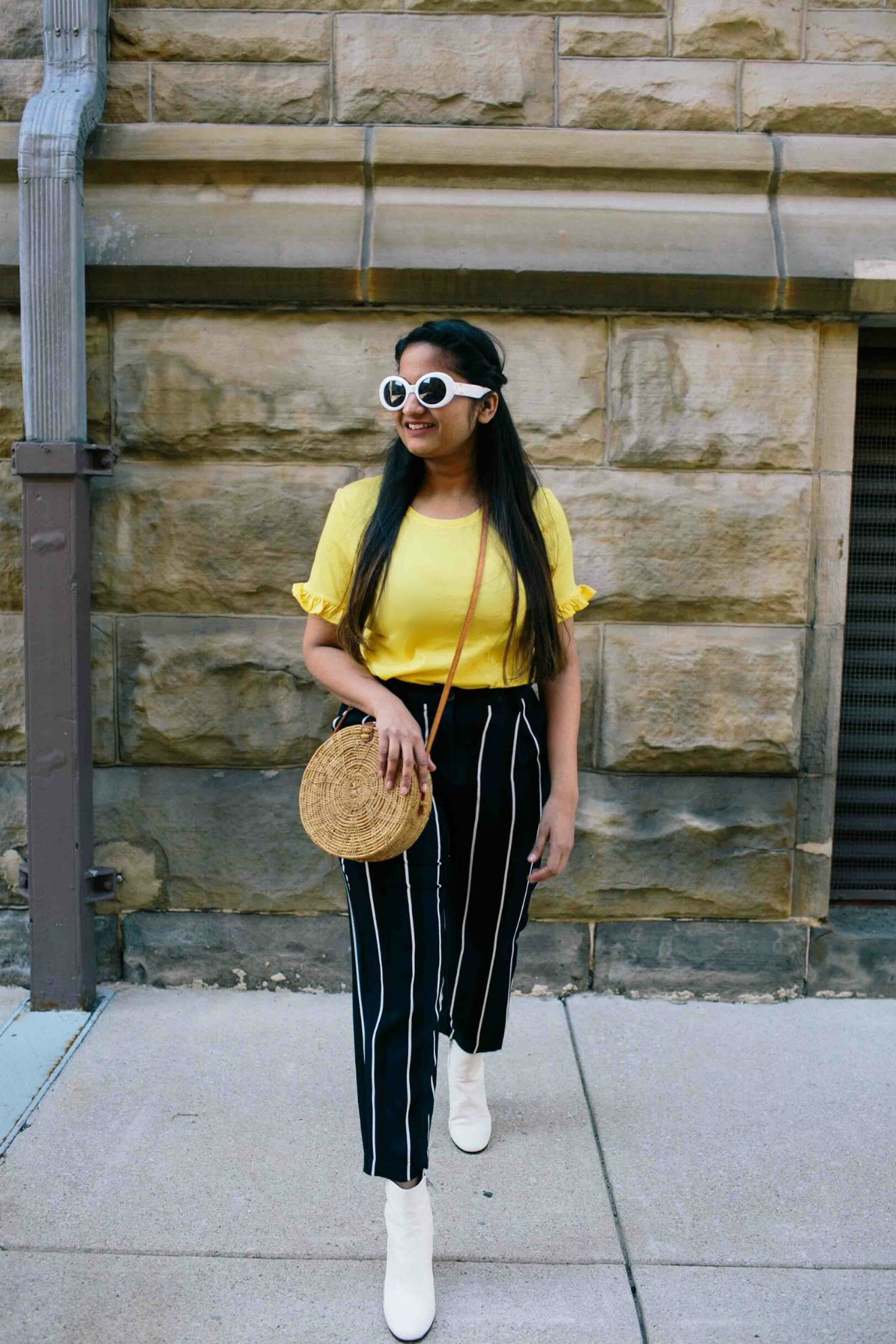 Modest fashion and Lifestyle blog dreaming loud wearing circle or round straw bag