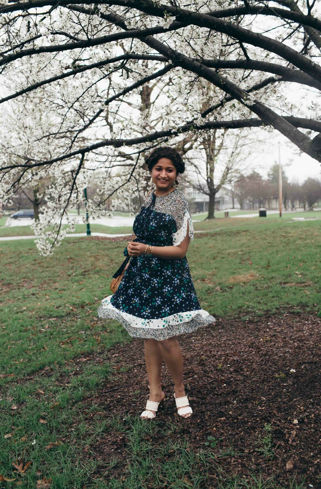 Lifestyle Blog Dreaming Loud wearing Ann Taylor Mixed Floral Flounce Dress for Cherry Blossoms festival 3