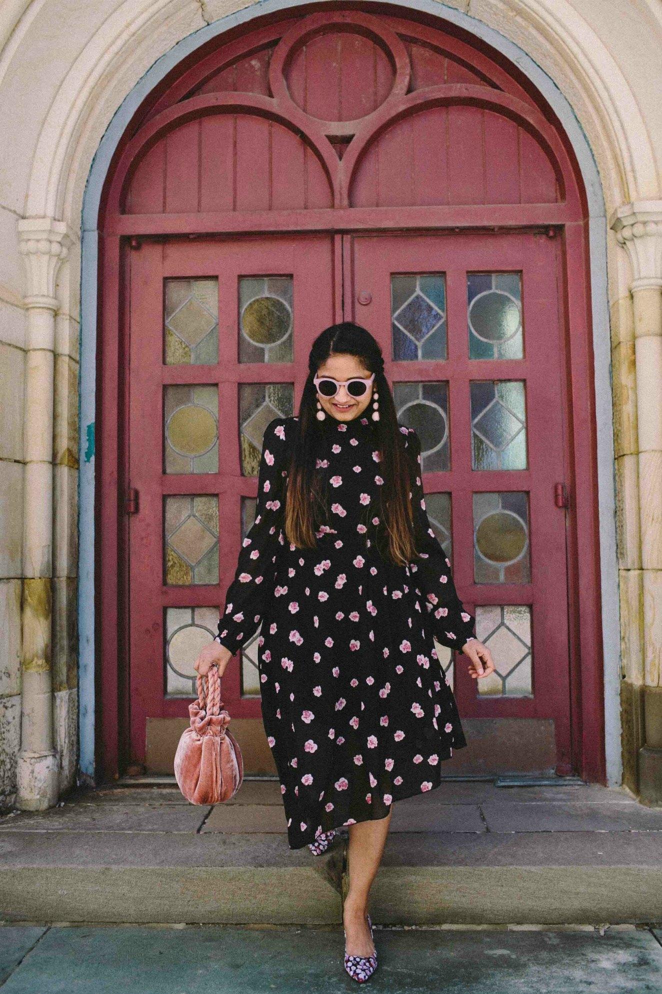Modest Fashion and Lifestyle blog dreaming loud wearing Na-kd fashion Asymmetric Cut Open Back Floral print Dress 2