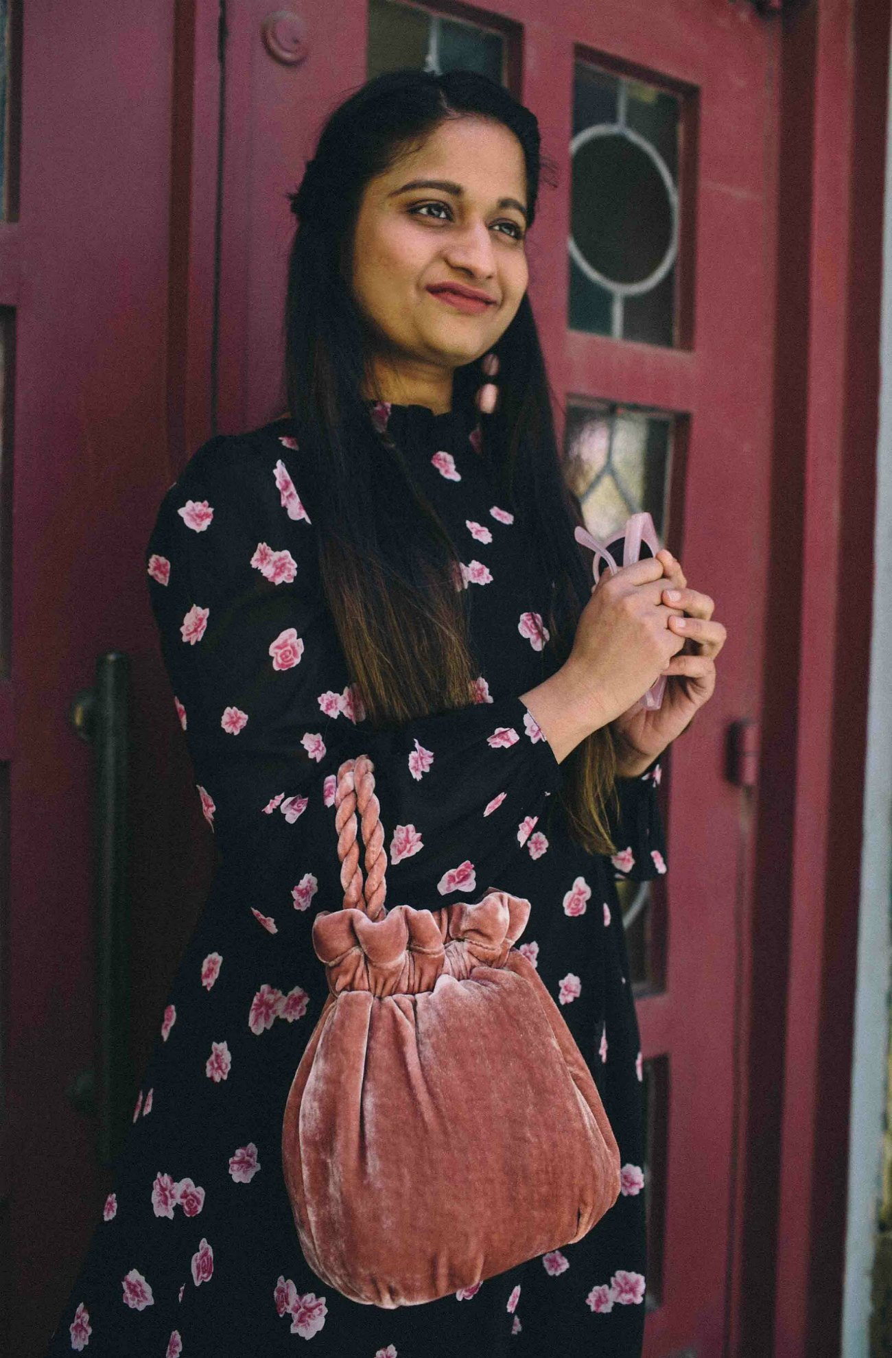 Modest fashion and Lifestyle blog dreaming loud wearing Staud Grace velvet clutch bag 1