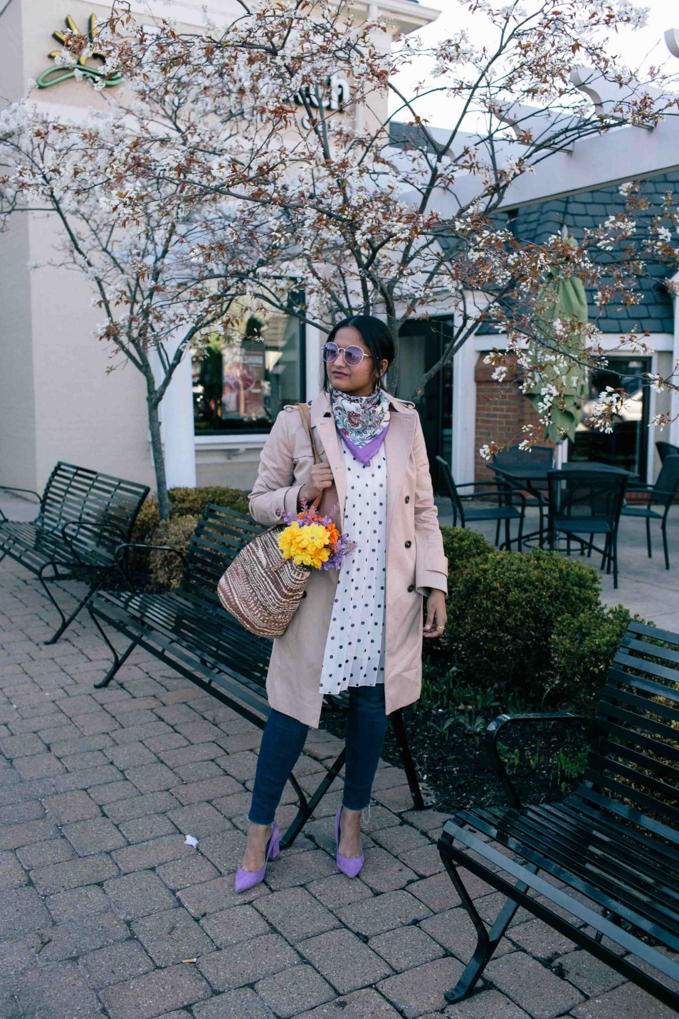 Asos polka dot dress- Must Have Spring & Summer Lightweight Jackets featured by popular Ohio modest fashion blogger, Dreaming Loud