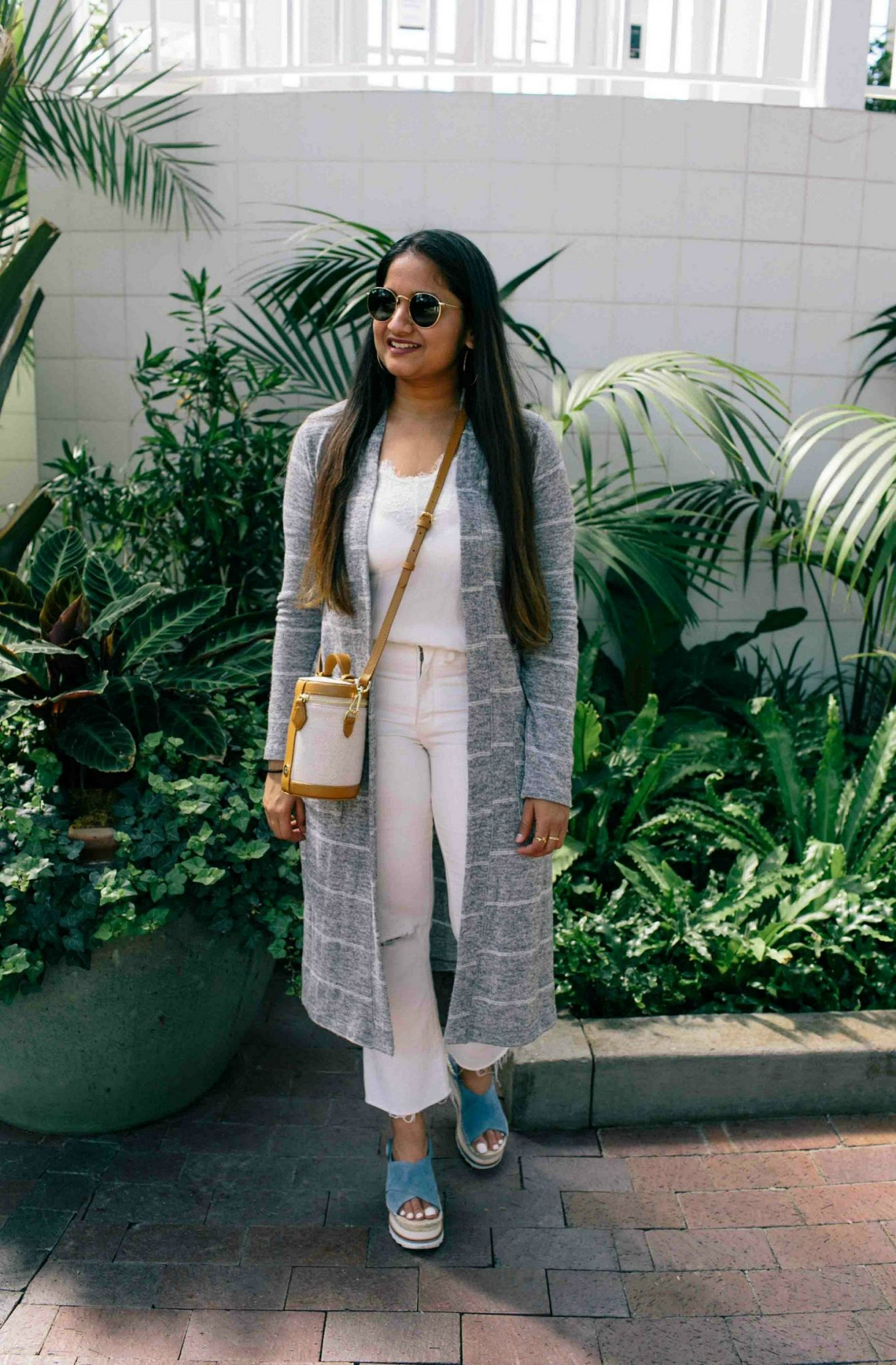 wearing grey striped long cardigan-Fresh All White Summer Outfit featured by popular Ohio modest fashion blogger, Dreaming Loud