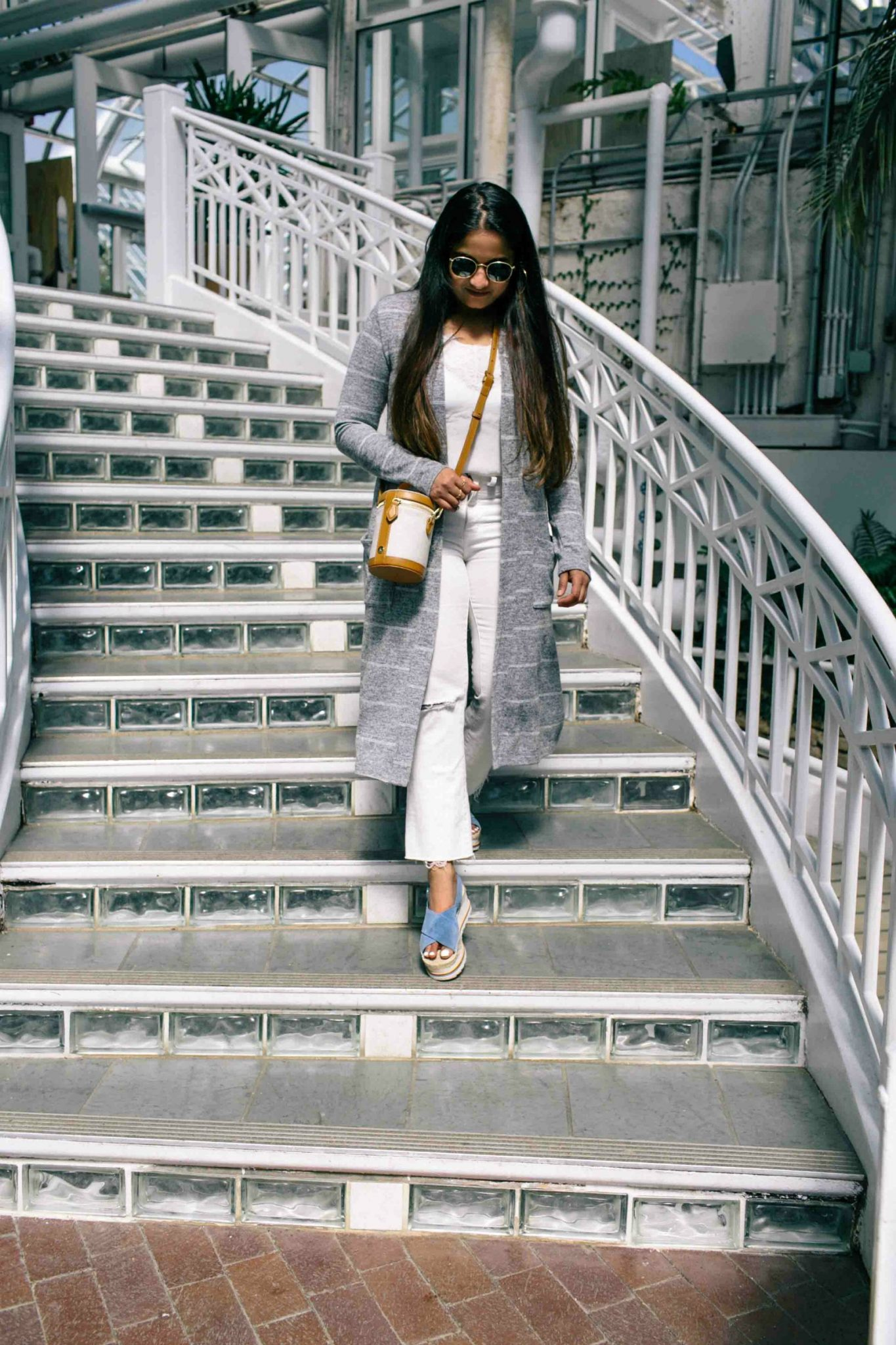 wearing Madwell Cali Demi-Boot Jeans in Pure White Distressed Edition -Fresh All White Summer Outfit featured by popular Ohio modest fashion blogger, Dreaming Loud