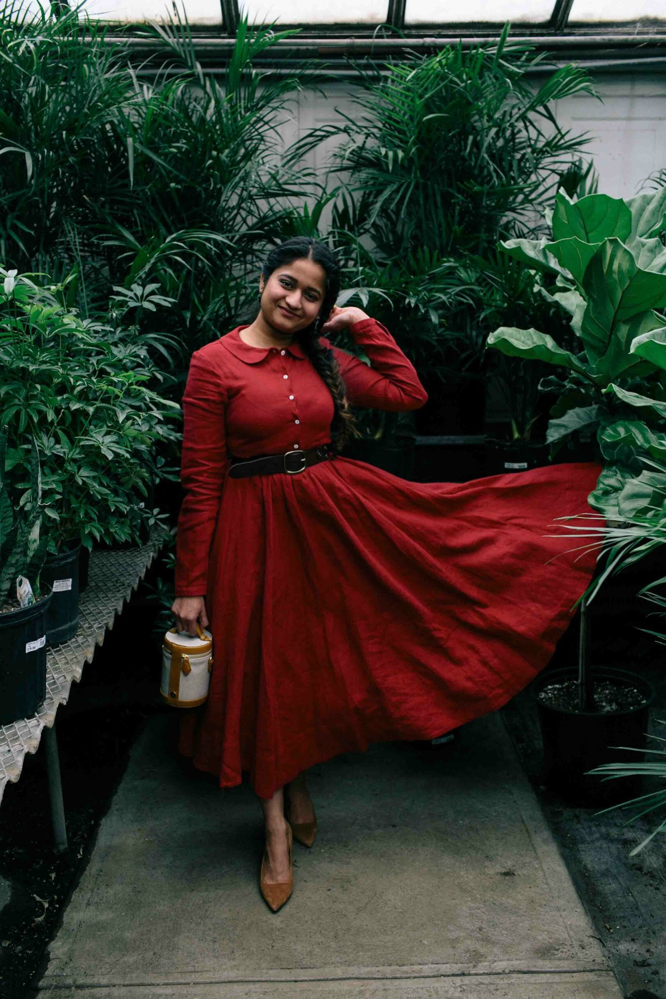 Modest Fashion and Lifestyle blog dreaming loud wearing parallel Crossbody Capsule 1 and sharing pictures from straders garden center Columbus Ohio. jpg - Son de Flor Classic Linen Dress styled by popular modest fashion blogger, Dreaming Loud.