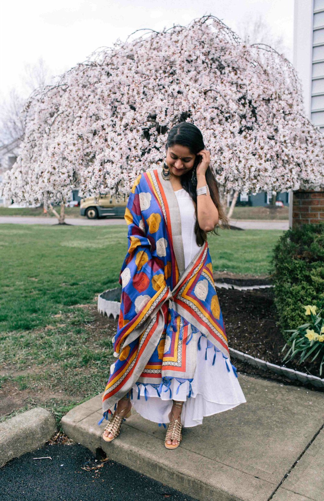 Modest Fashion and and lifestyle blog dreaming loud wearing Kalamkari Duppata with White maxi dress - Indo-Western Spring Outfit featured by popular modest fashion blogger, Dreaming Loud