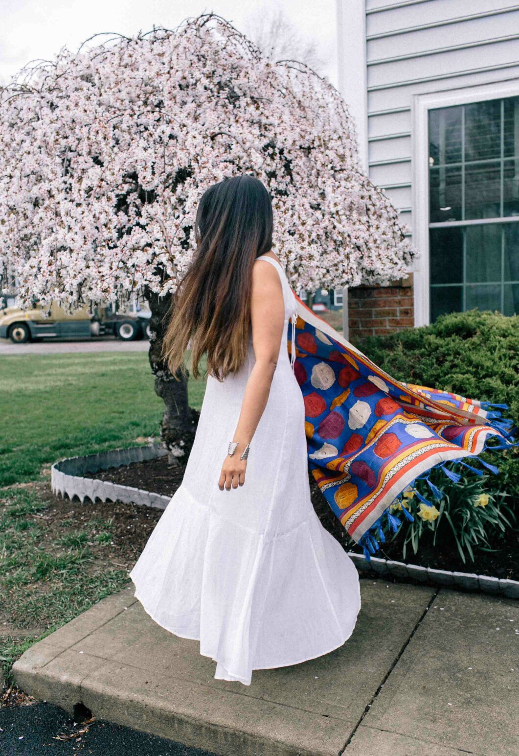 Modest Fashion and lifestyle Blog dreaming loud wearing Anthropologie white maxi dress - Indo-Western Spring Outfit featured by popular modest fashion blogger, Dreaming Loud