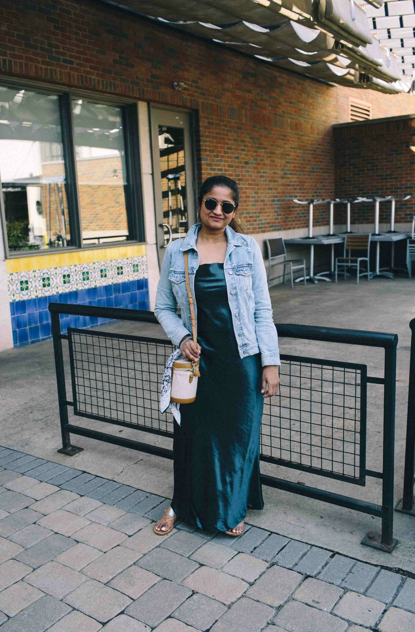 Banana republic Textured Satin Bias-Cut Maxi Slip Dress-Must Have Spring & Summer Lightweight Jackets featured by popular Ohio modest fashion blogger, Dreaming Loud