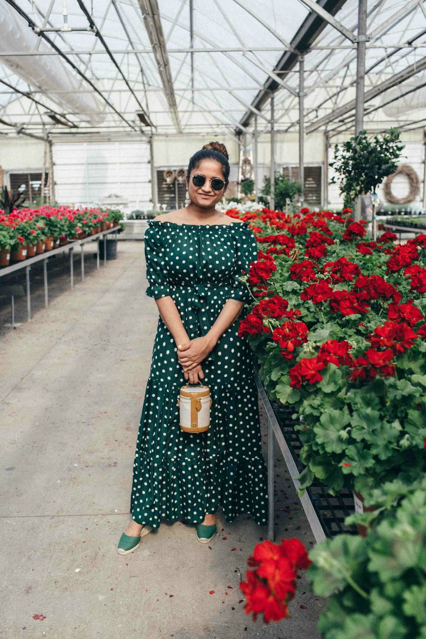 Shein Polka Dot Bardot Neckline Tie Waist Dress in green - Best of Memorial Day Sales featured by popular Ohio modest fashion blogger, Dreaming Loud