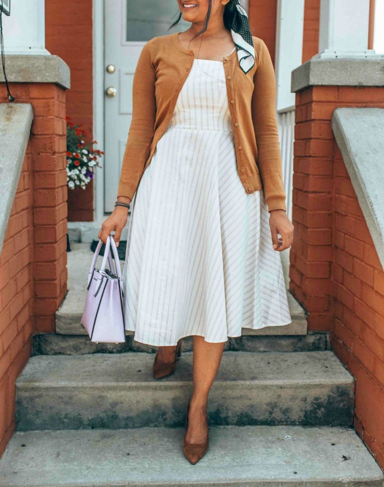 Wearing Leith Fit & Flare Dress 6 - Leith White Fit & Flare Dress styled by popular US modest fashion blogger, Dreaming Loud