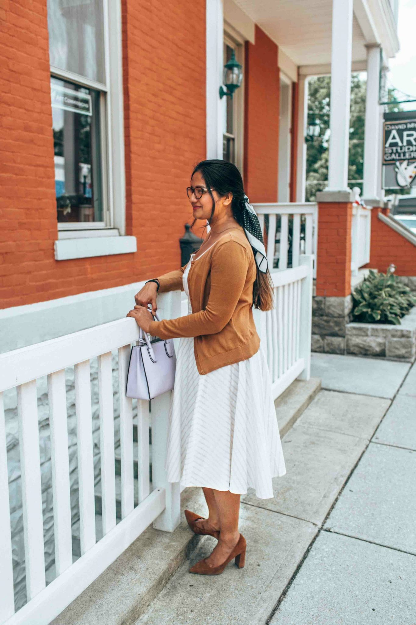Leith White Fit & Flare Dress styled by popular US modest fashion blogger, Dreaming Loud