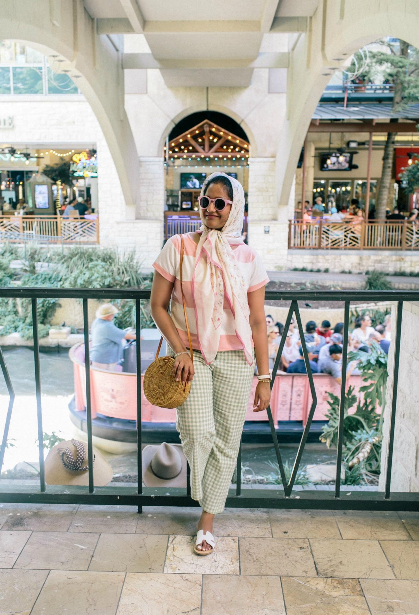Wearing UO Leanna Gingham Cropped Flare Pant in green with pink madewell Boxy Stripe Tee - A Day in Austin and San Antonio -Attractions, Where to Eat and What to Wear featured by popular Ohio travel blogger, Dreaming Loud