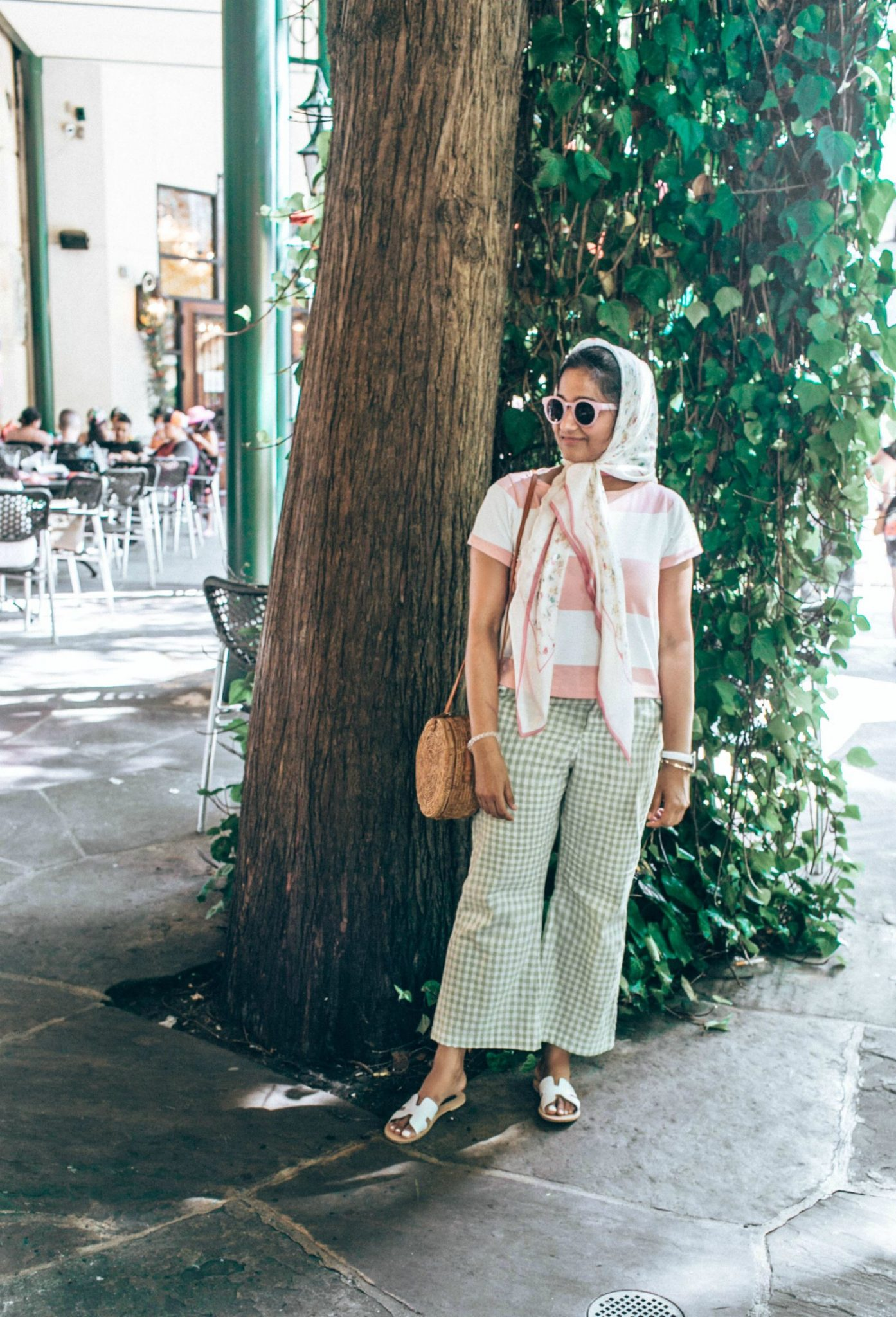 Wearing mint and pink combo + swearing stripes and gingham - A Day in Austin and San Antonio -Attractions, Where to Eat and What to Wear featured by popular Ohio travel blogger, Dreaming Loud
