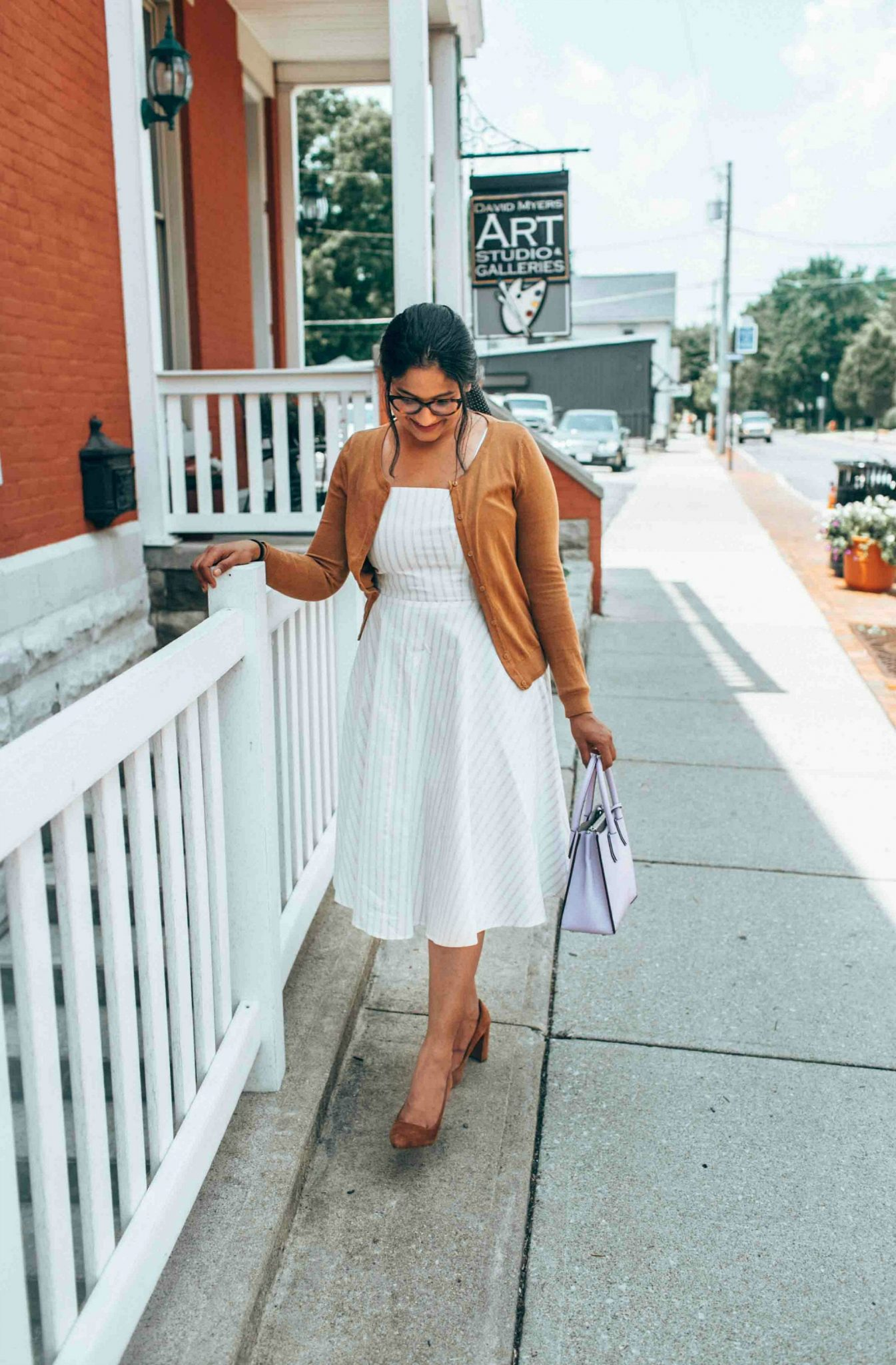 wearing banana republic Madison 12-Hour Block-Heel Pump 1 - Leith White Fit & Flare Dress styled by popular US modest fashion blogger, Dreaming Loud