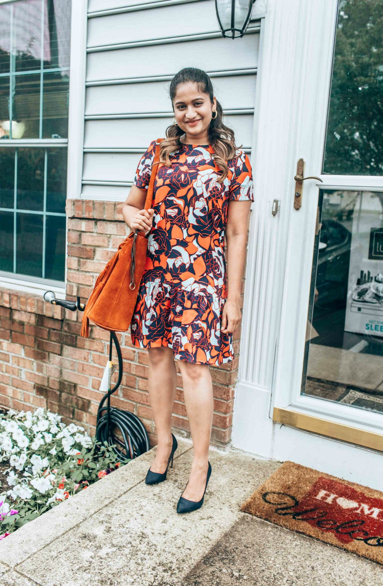 Short Sleeve Ruffle Hem Dress HALOGEN - Nordstrom Anniversary Sale top picks featured by popular Ohio modest fashion blogger, Dreaming Loud