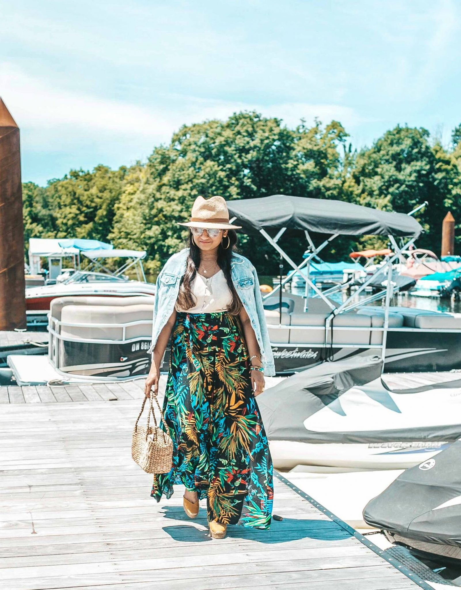 Popular US Modest Fashion blogger, Dreaming Loud, shares What to wear to a beach getaway - Shein Tropical Print Skirt featured by popular US modest fashion blogger, Dreaming Loud