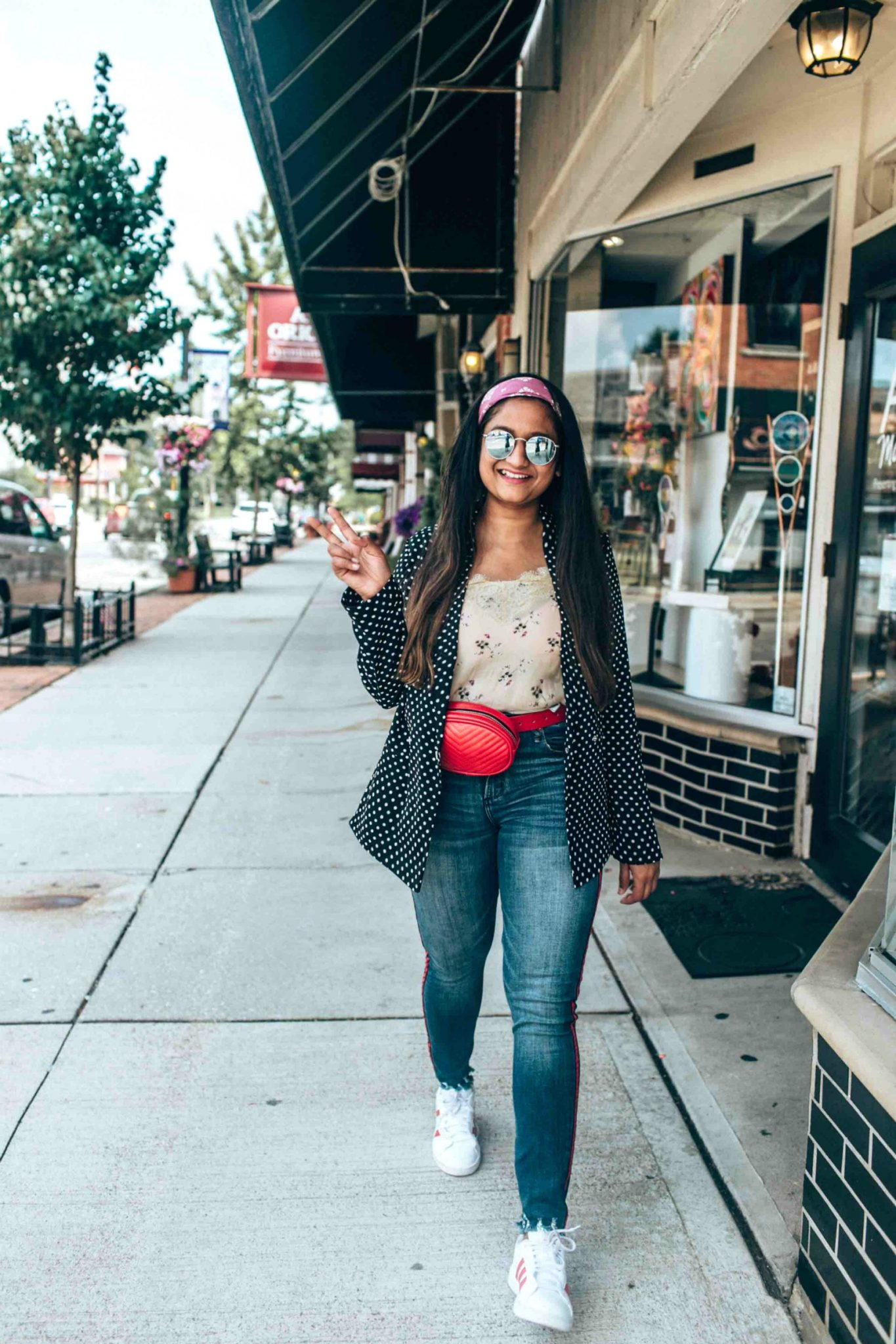 wearing Abercrombie High Rise Ankle Jeans with red stripes- Chic & Trendy Blazer With Jeans Outfits featured by popular Ohio modest fashion blogger, Dreaming Loud