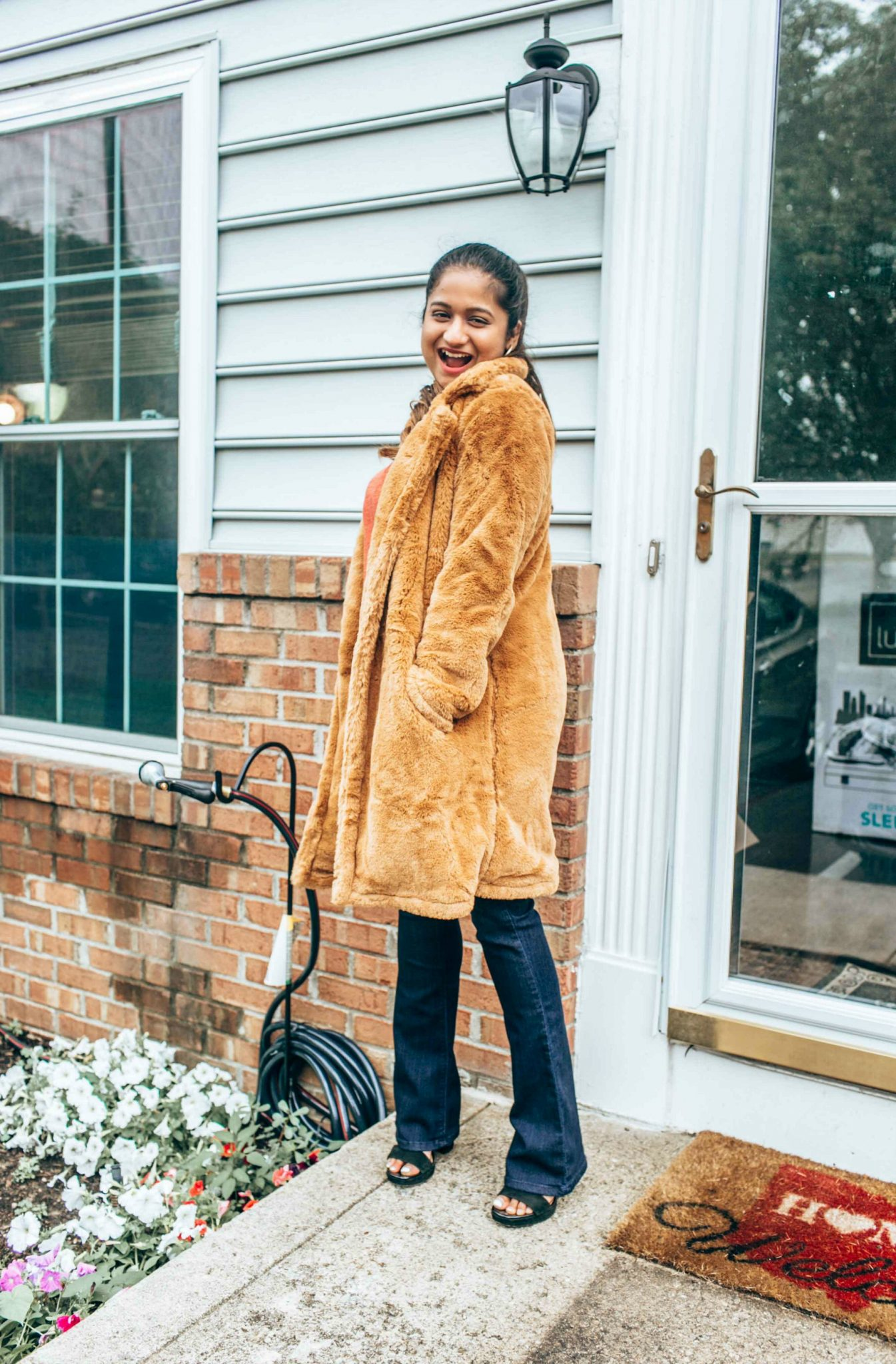 wearing Faux Fur Teddy Coat WOVEN HEART - Nordstrom Anniversary Sale top picks featured by popular Ohio modest fashion blogger, Dreaming Loud