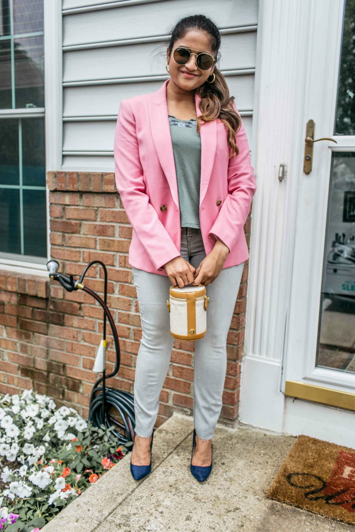 wearing J.Crew Dover Blazer in pink - Nordstrom Anniversary Sale top picks featured by popular Ohio modest fashion blogger, Dreaming Loud