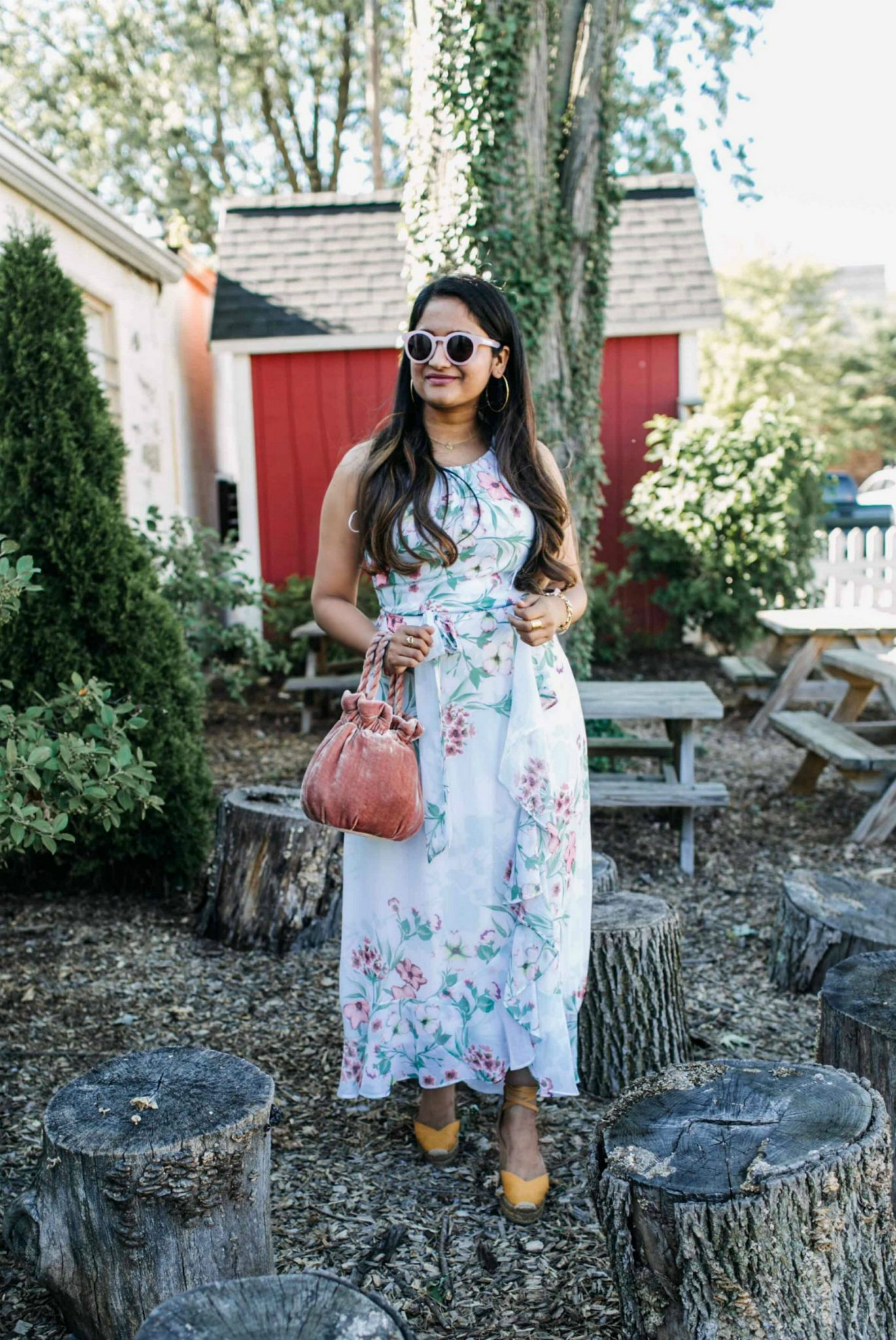 wearing R & K Originals Sleeveless Floral Maxi Dress - JCPenney 6 | | Cute Wedding Guest Dresses for Summer featured by popular US modest fashion blogger, Dreaming Loud