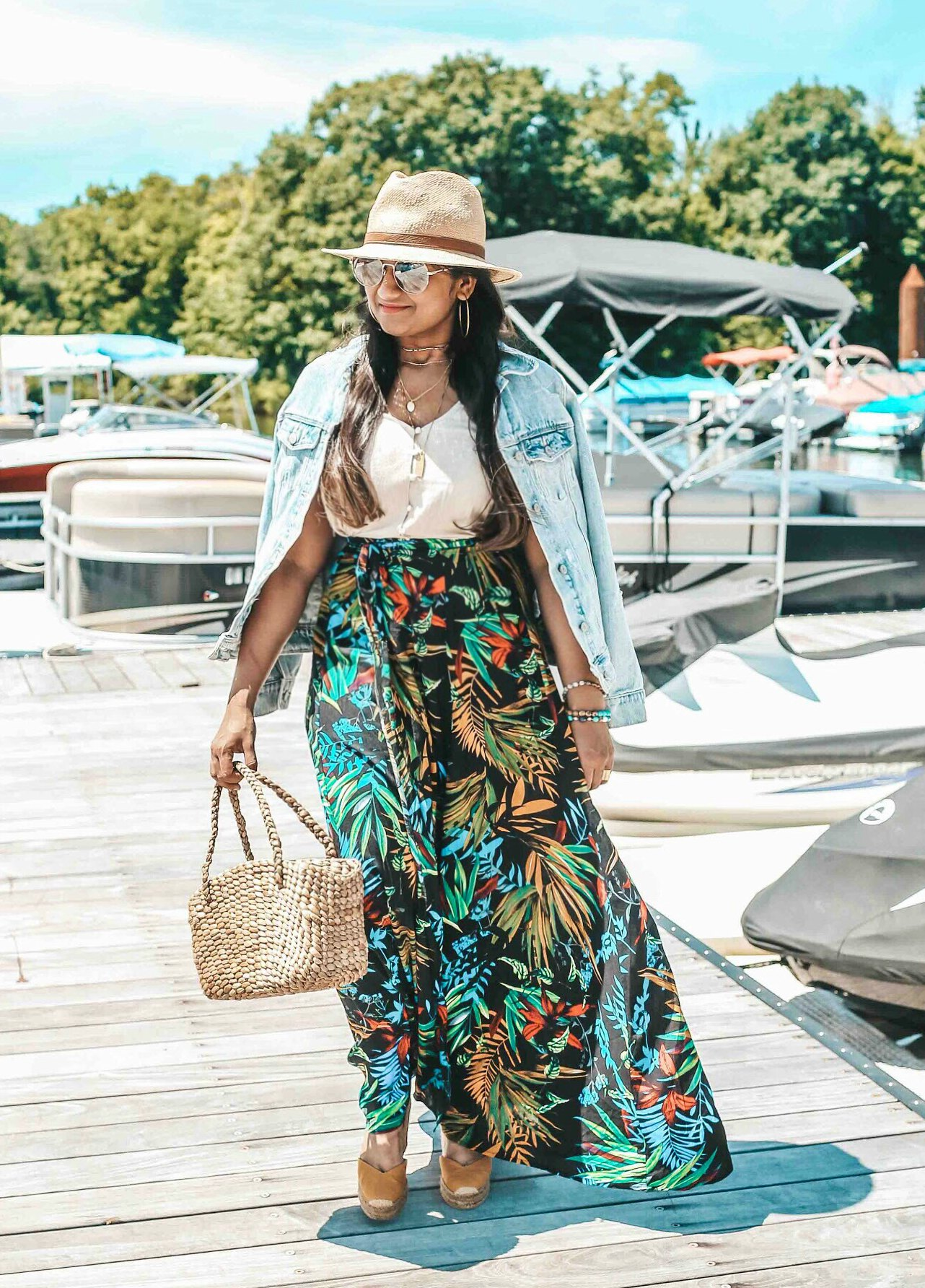 Popular US Modest Fashion blogger, Dreaming Loud, wearing Shein Tropical Print Self Tie Wrap Skirt with Castaner carina wedges - Shein Tropical Print Skirt featured by popular US modest fashion blogger, Dreaming Loud